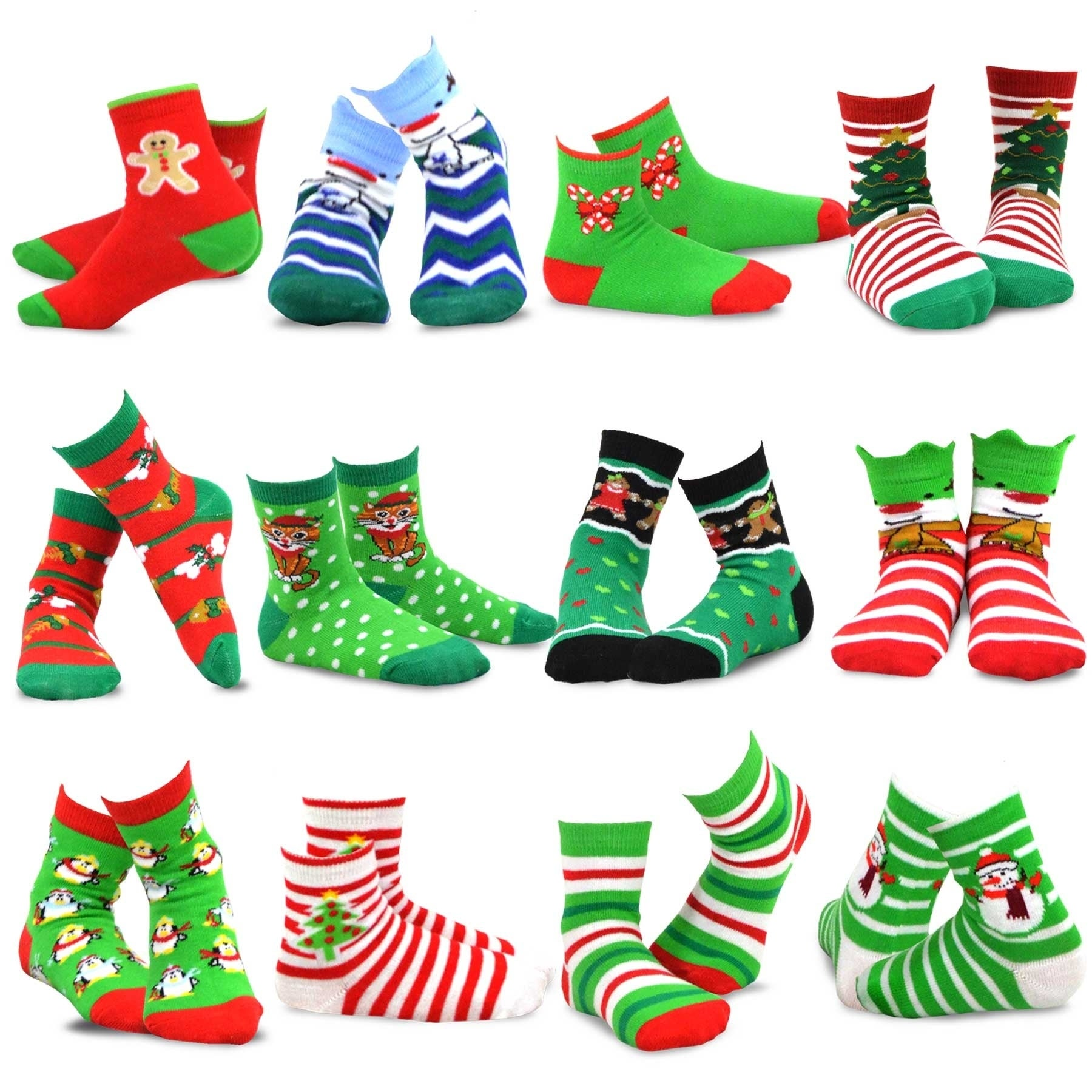 Shop TeeHee Christmas 12-Pack Cotton Socks, Great Value Gift Box for ...