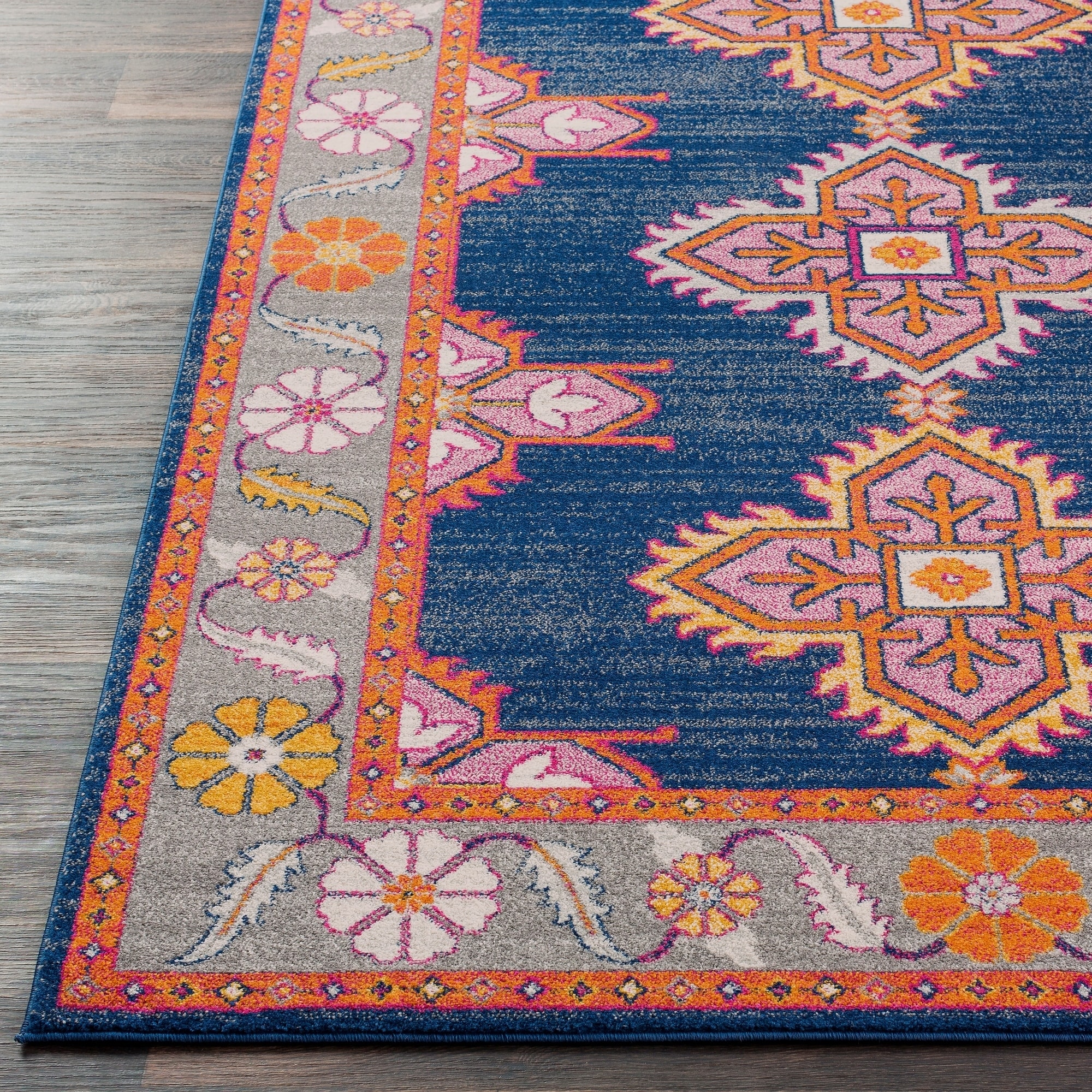 Persian Inspired Boho Navy Pink Area Rug 9 3 X 12 6 On Free Shipping Today 15963553