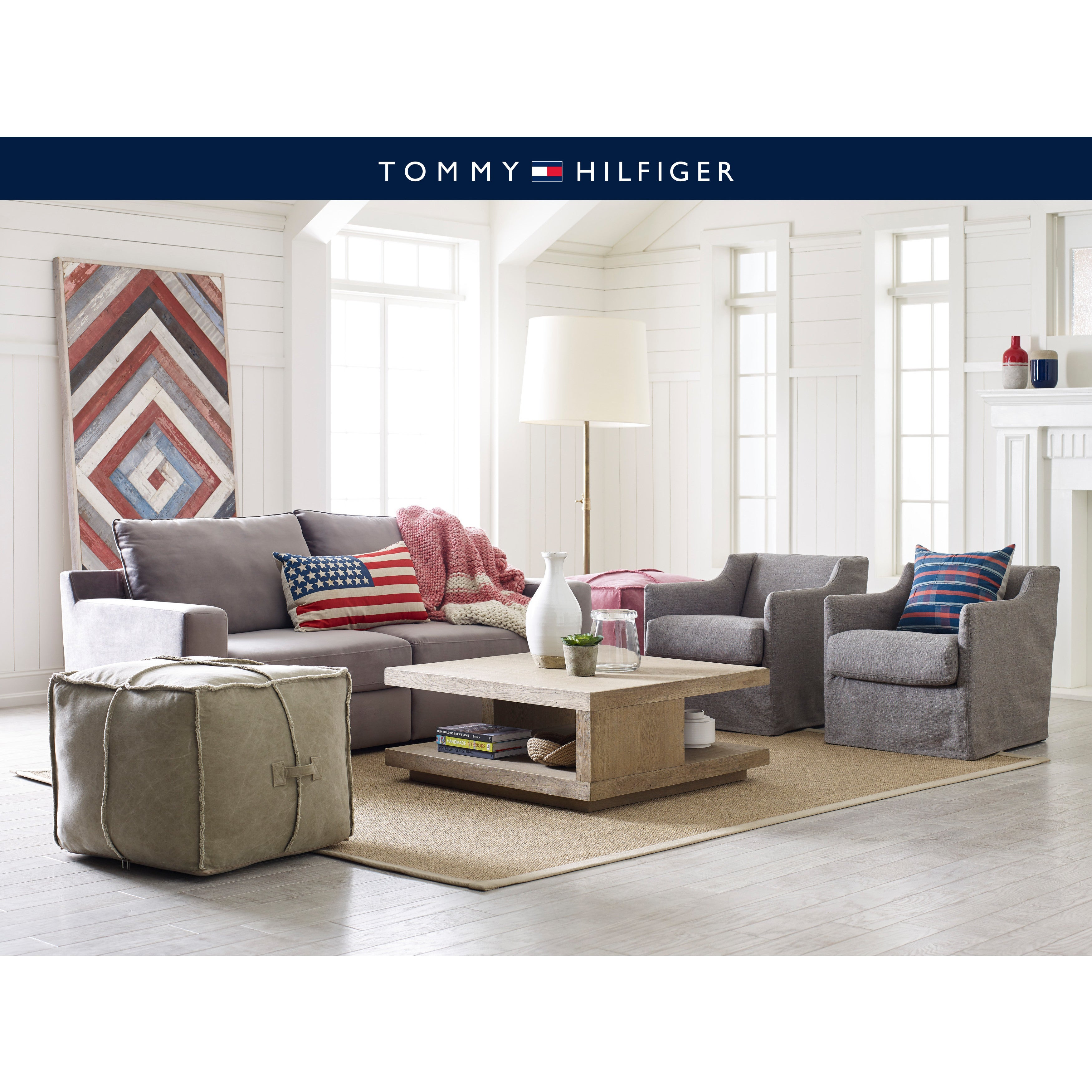 Tommy Hilfiger Doron Square Pouf - Free Shipping Today - Overstock ...