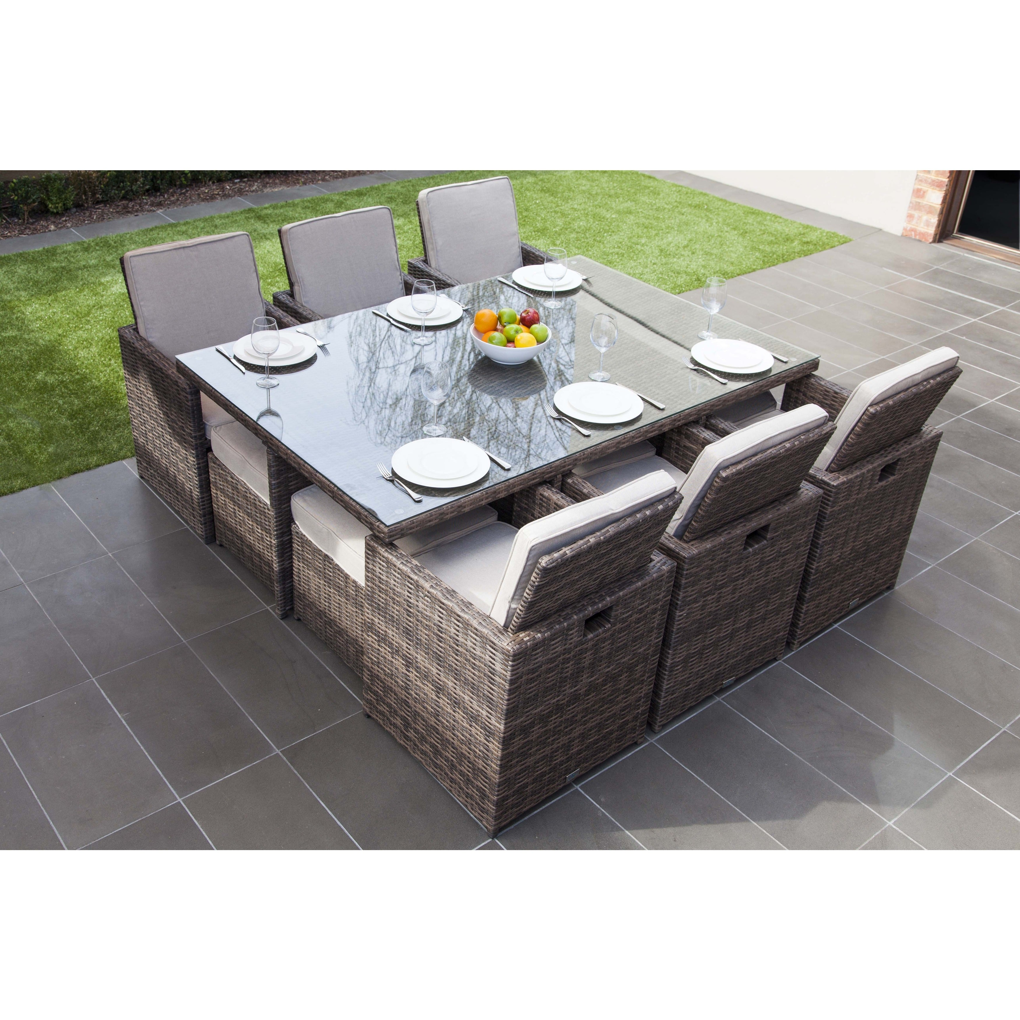 Malta 11 Piece Outdoor Wicker Dining Table And Cushion Set By Direct Wicker    Free Shipping Today   Overstock   22361489