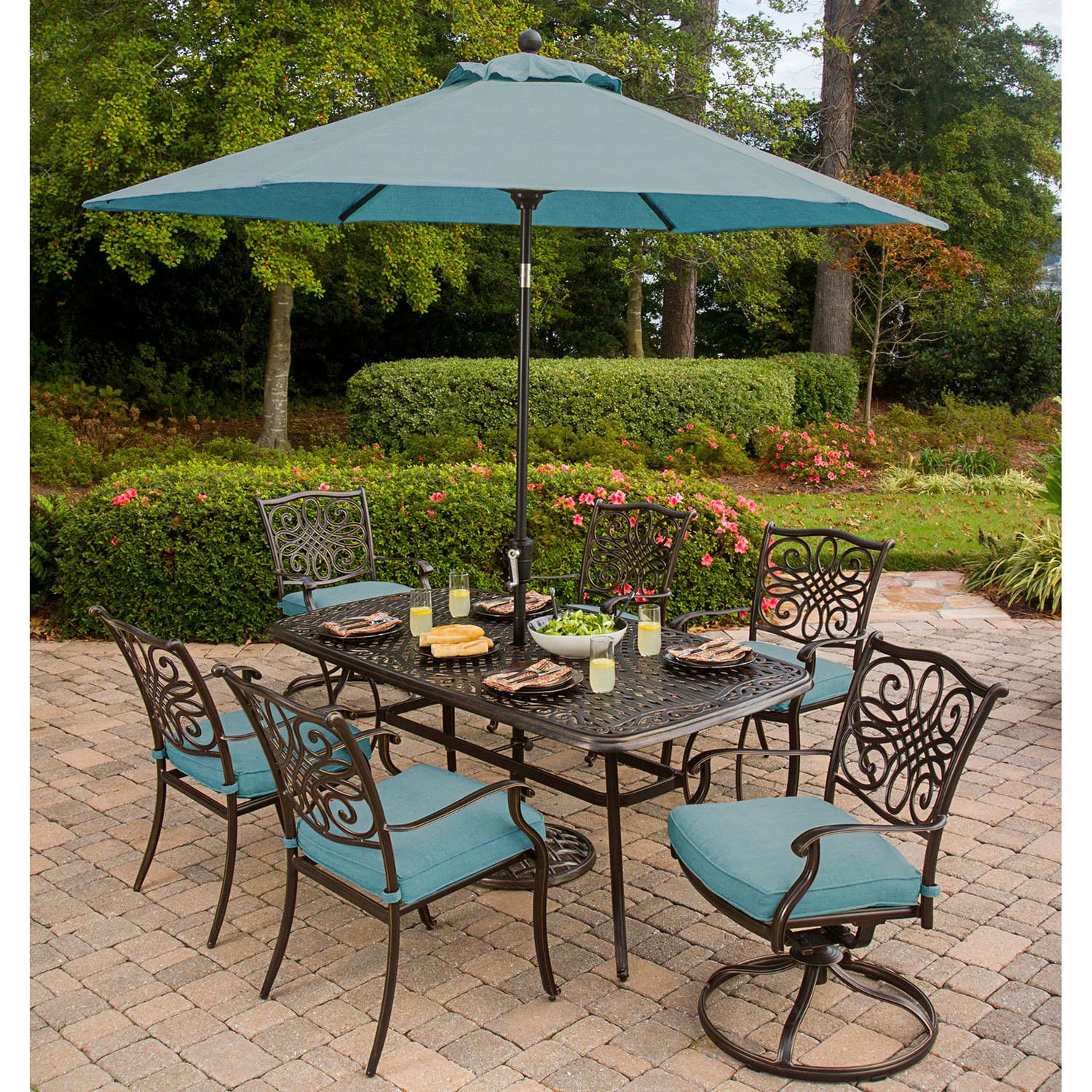 Cambridge Seasons 7-Piece Outdoor Dining Set with Table Umbrella and Stand