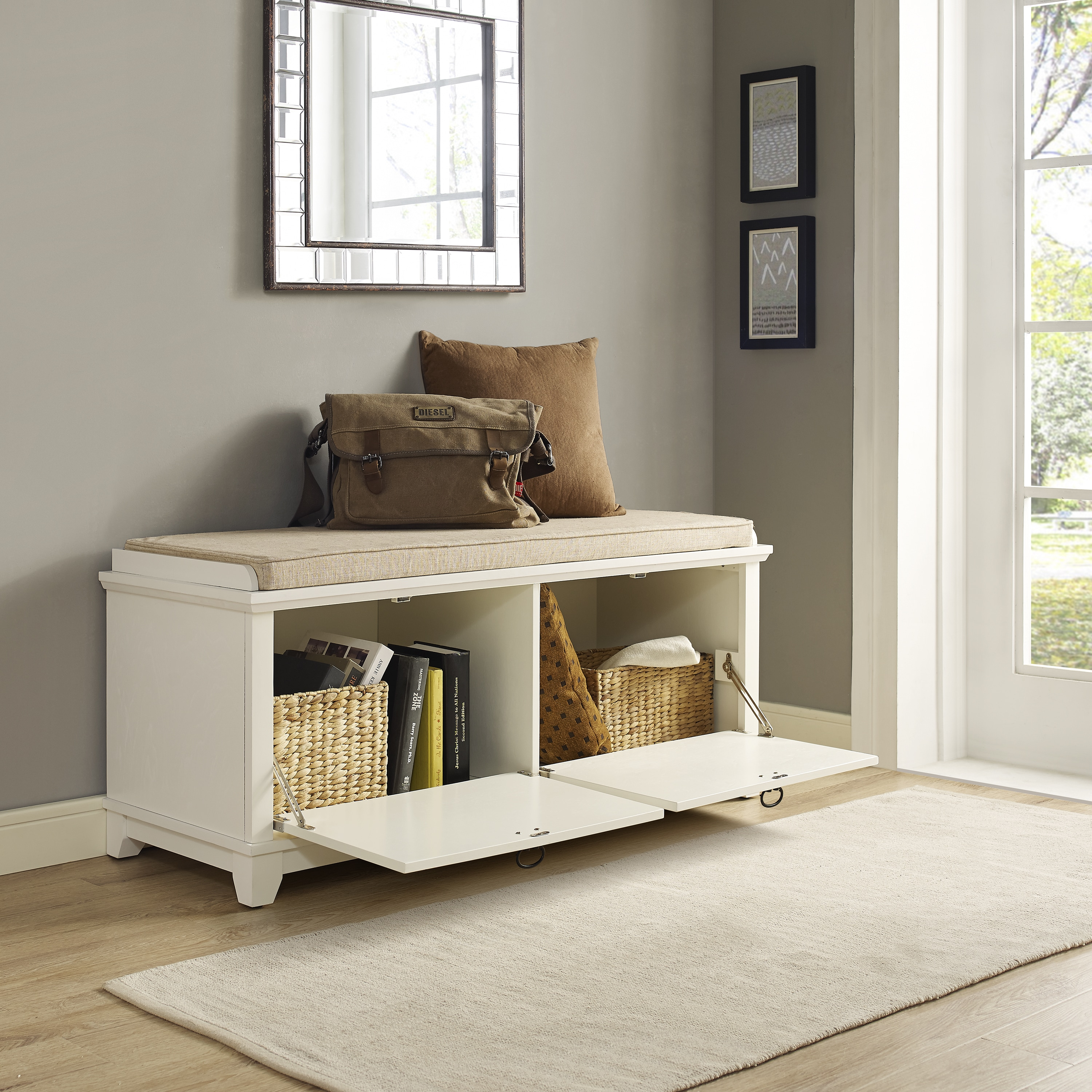 Adler white entryway bench