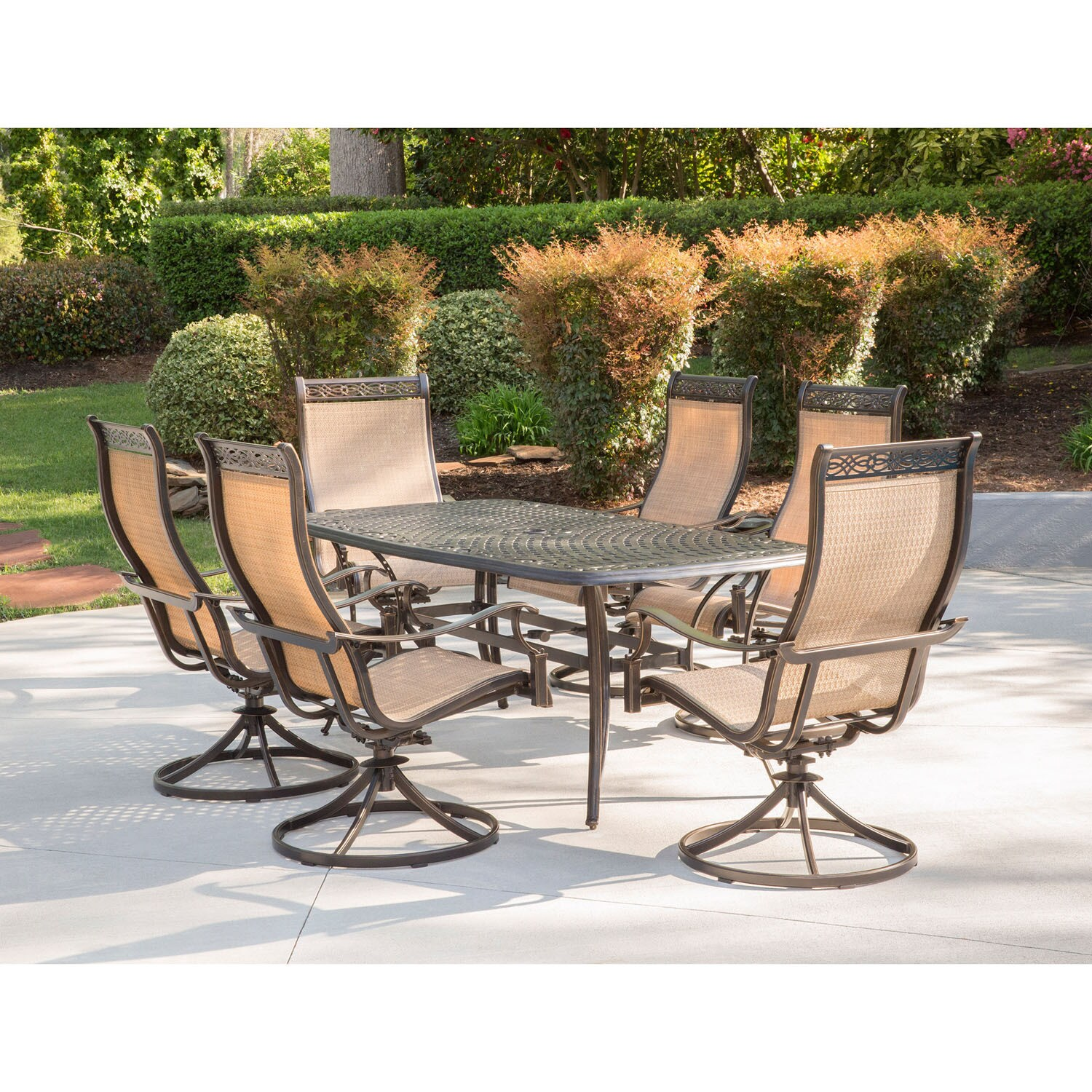 Shop Hanover Manor Tan Aluminum 7 Piece Outdoor Dining Set With 6 Swivel Rockers And A Large Cast Top Dining Table Overstock 15964197