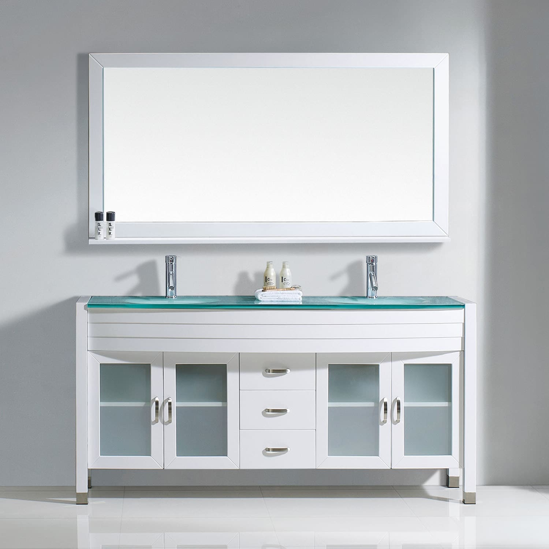 Shop Virtu USA Ava 63-inch Tempered Glass Double Bathroom Vanity Set ...