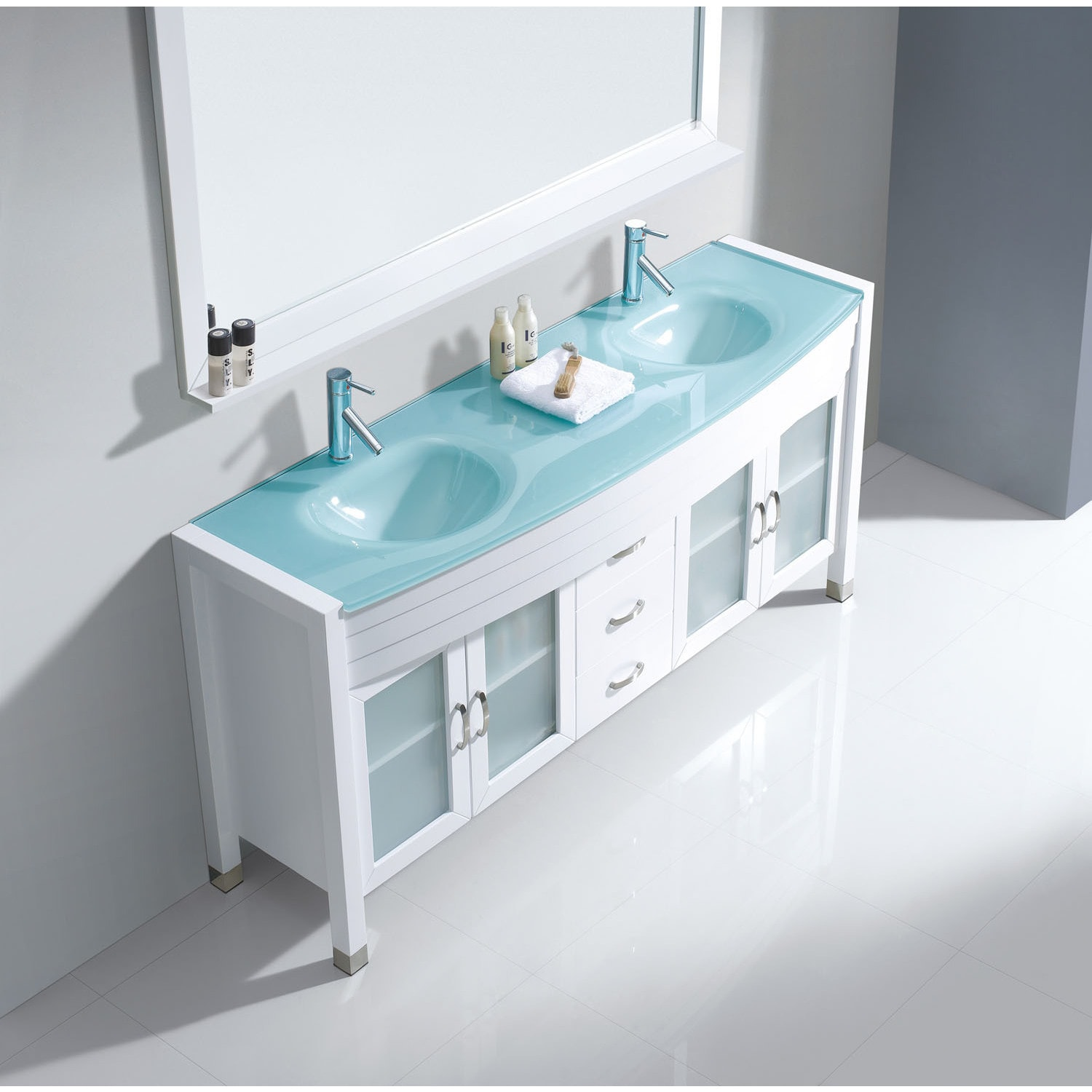 Shop Virtu USA Ava 63-inch Tempered Glass Double Bathroom Vanity Set ...