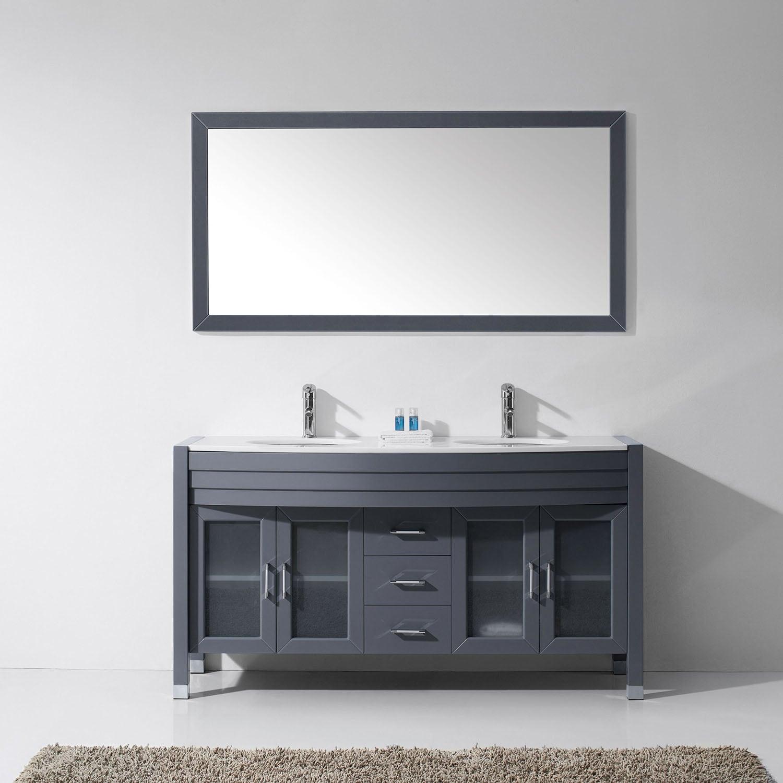 Virtu Usa Ava 63 Inch White Stone Double Bathroom Vanity Set