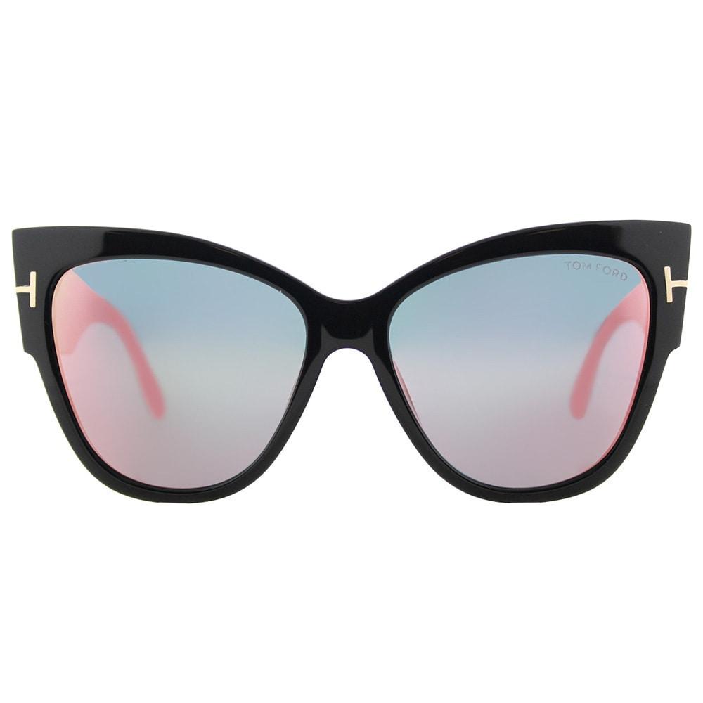 4264560d892d Shop Tom Ford TF 371 01Z Anoushka Shiny Black Plastic Cat-Eye Sunglasses  Pink Flash Mirror Lens - Free Shipping Today - Overstock - 15970148