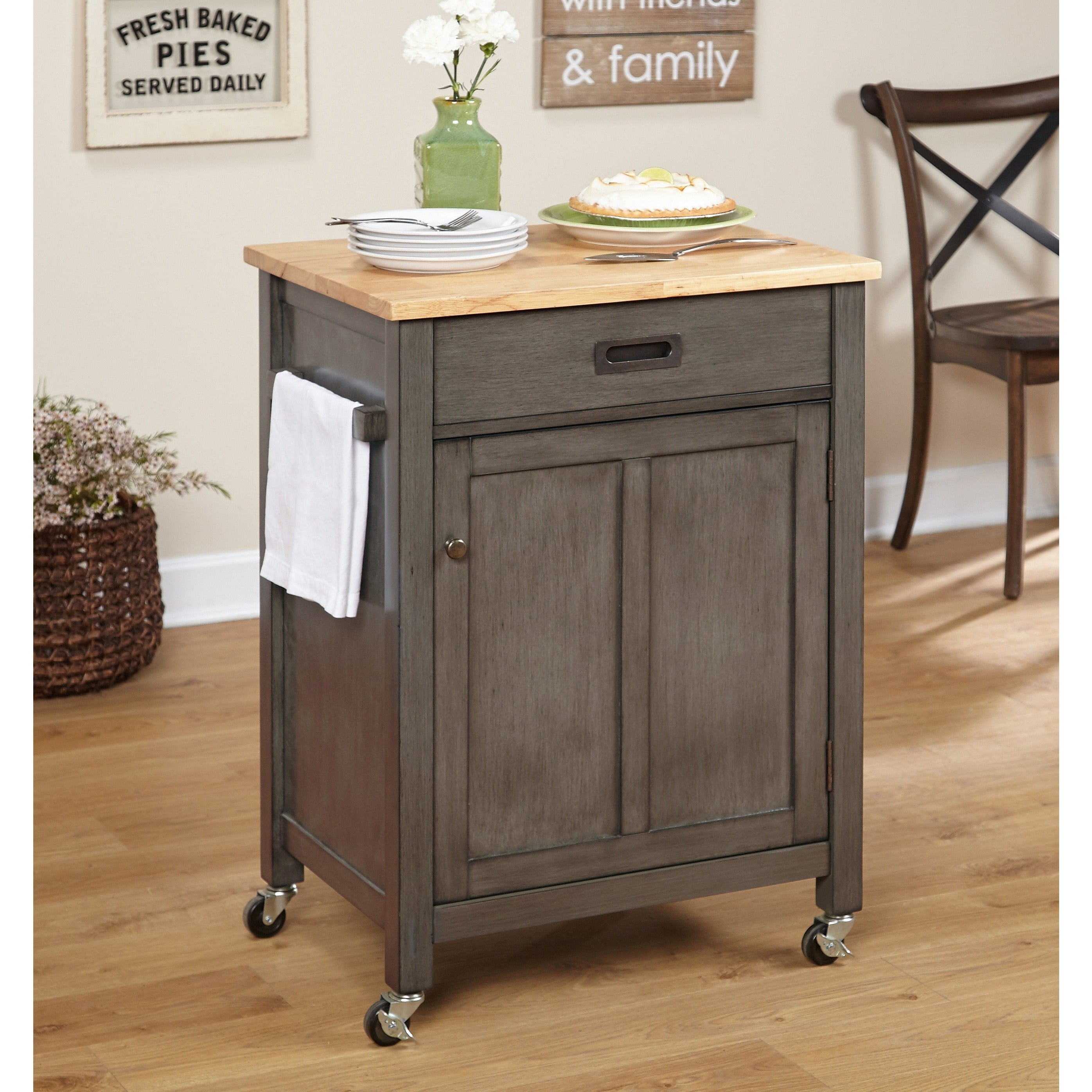 Shop simple living jacksonville rolling kitchen cart on sale free shipping today overstock 15972537