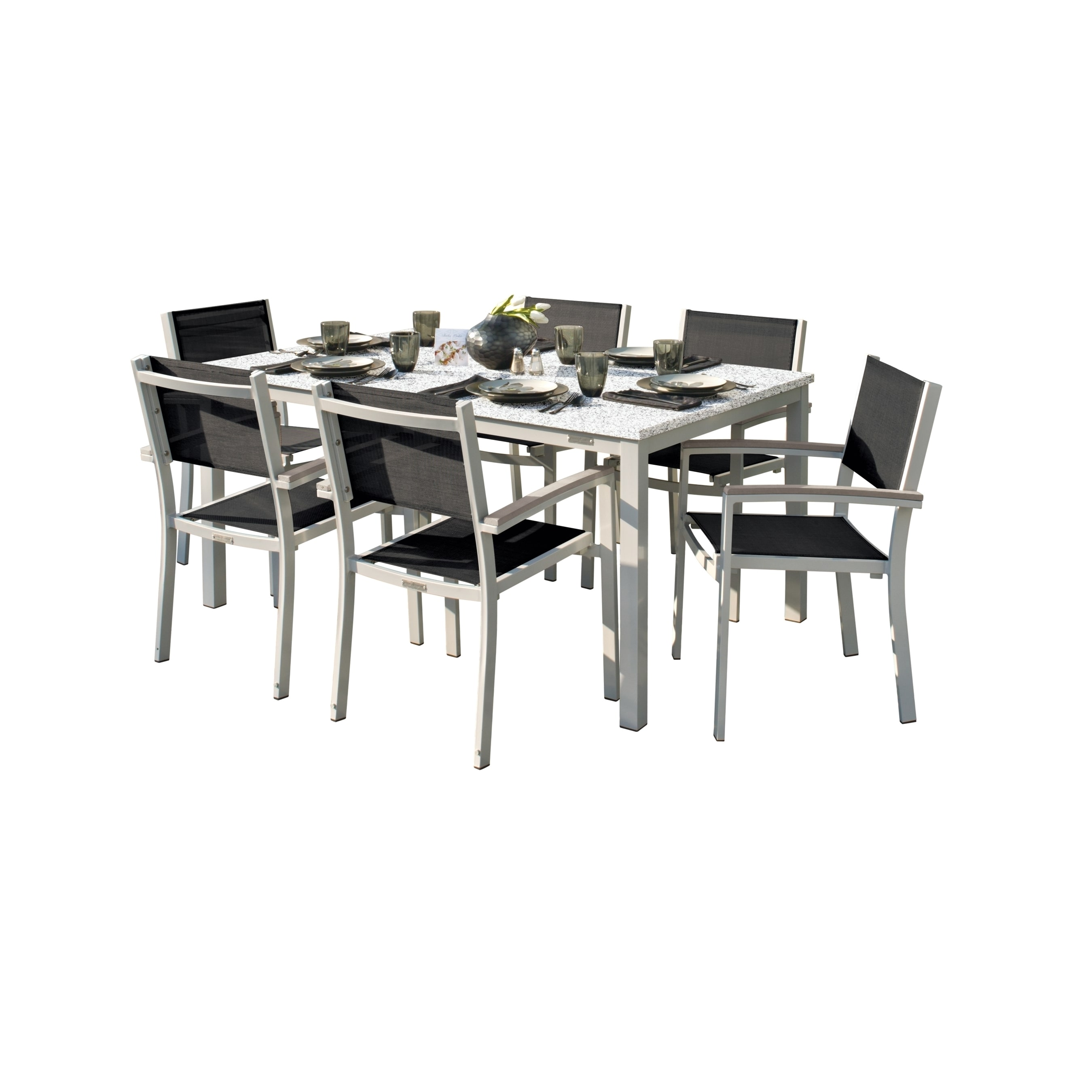 Shop oxford garden travira 7 piece dining set with 63 in x 40 in lite core ash table tekwood vintage black sling free shipping today overstock