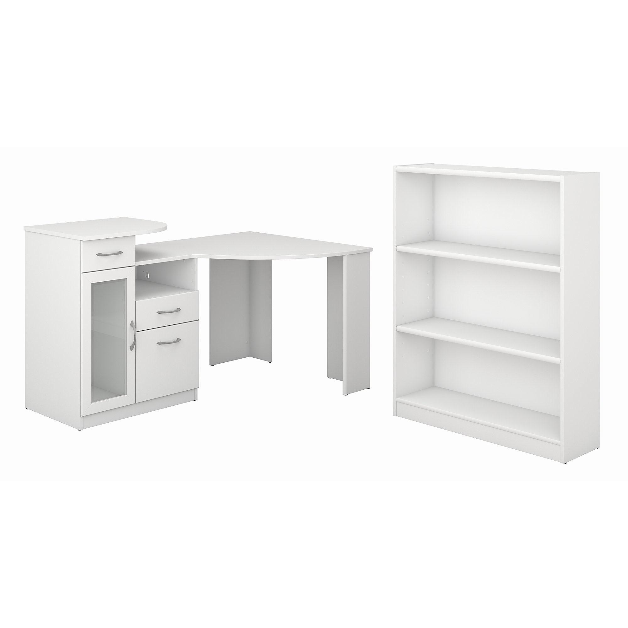 Vantage Pure White Corner Desk And Bookcase Set Free Shipping Today 15974265