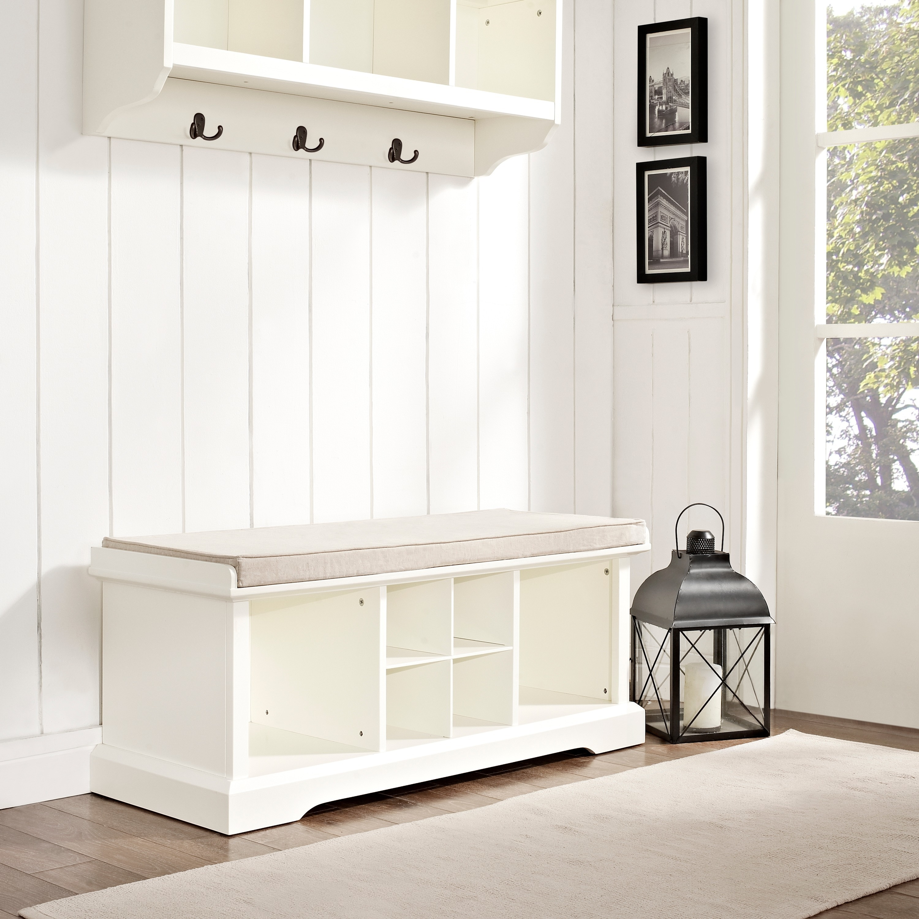 Shop Brennan White Wood Entryway Storage Bench   Free Shipping Today    Overstock.com   15974705
