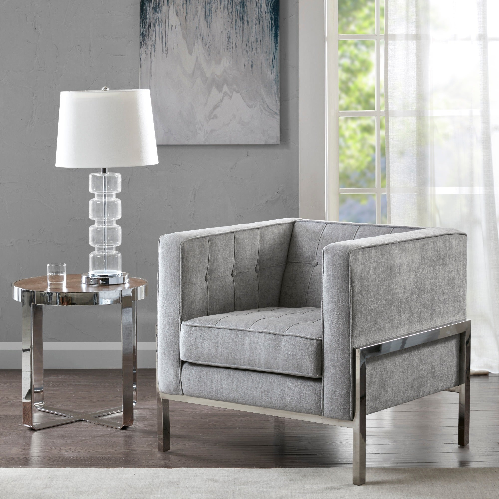 Shop madison park ruby gray silver accent chair free shipping today overstock com 15975025