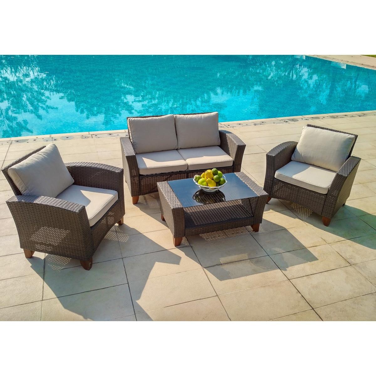 Grey brown wicker steel weatherproof 4 piece outdoor garden patio furniture set