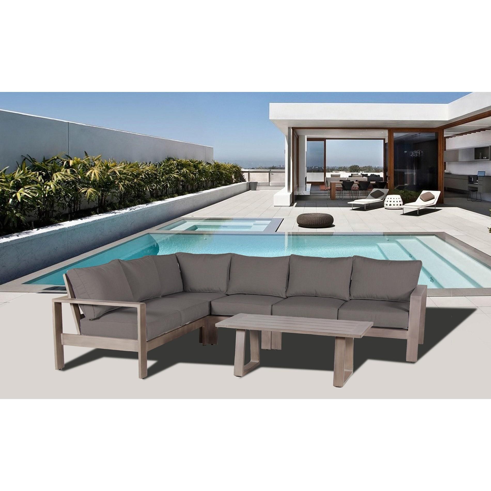 Aruba aluminum sectional set with canvas sunbrella cushions