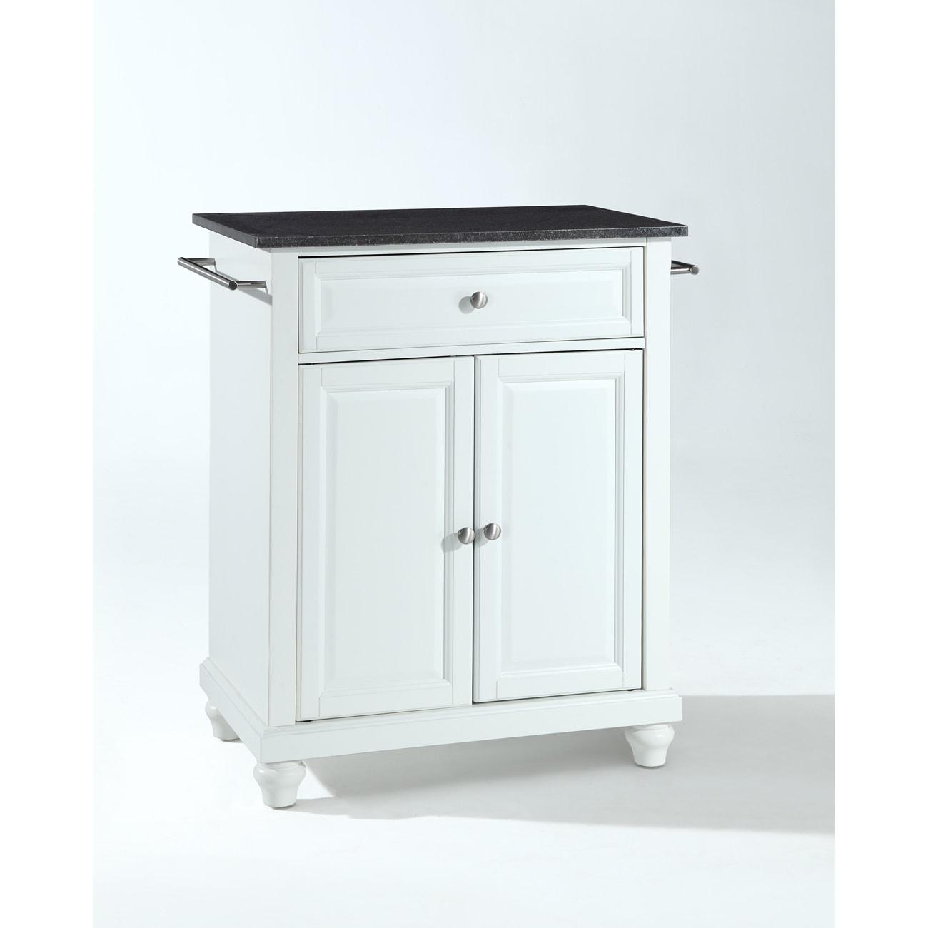 Cambridge Solid Black Granite Top Portable Kitchen Island in White ...