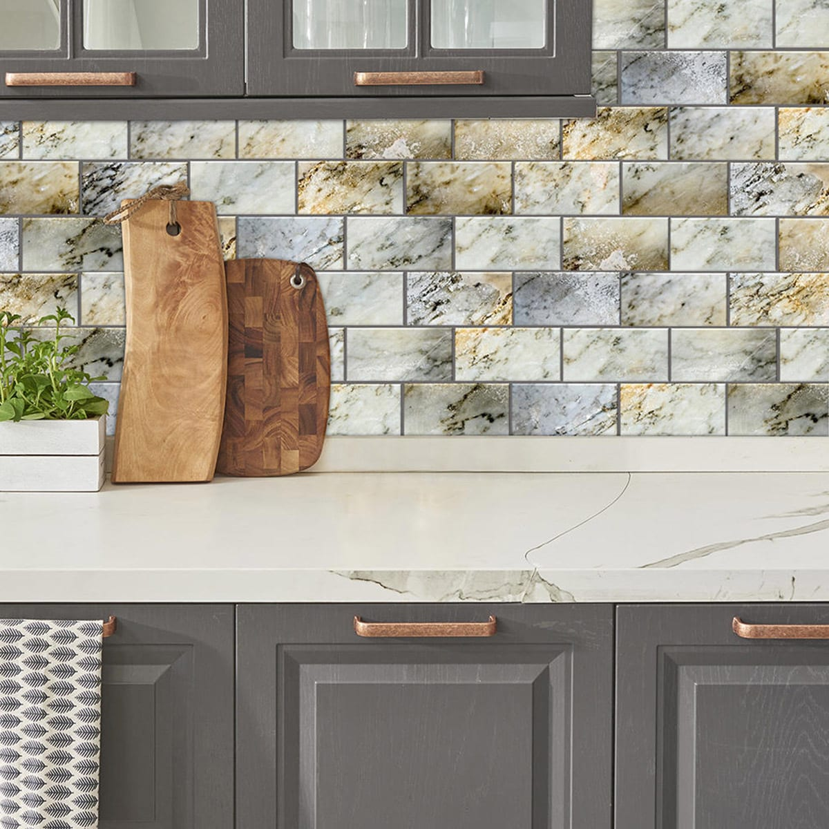 Peel and Stick Natural Marble Shades 6 in. x 3 in. Glass Wall Tile ...