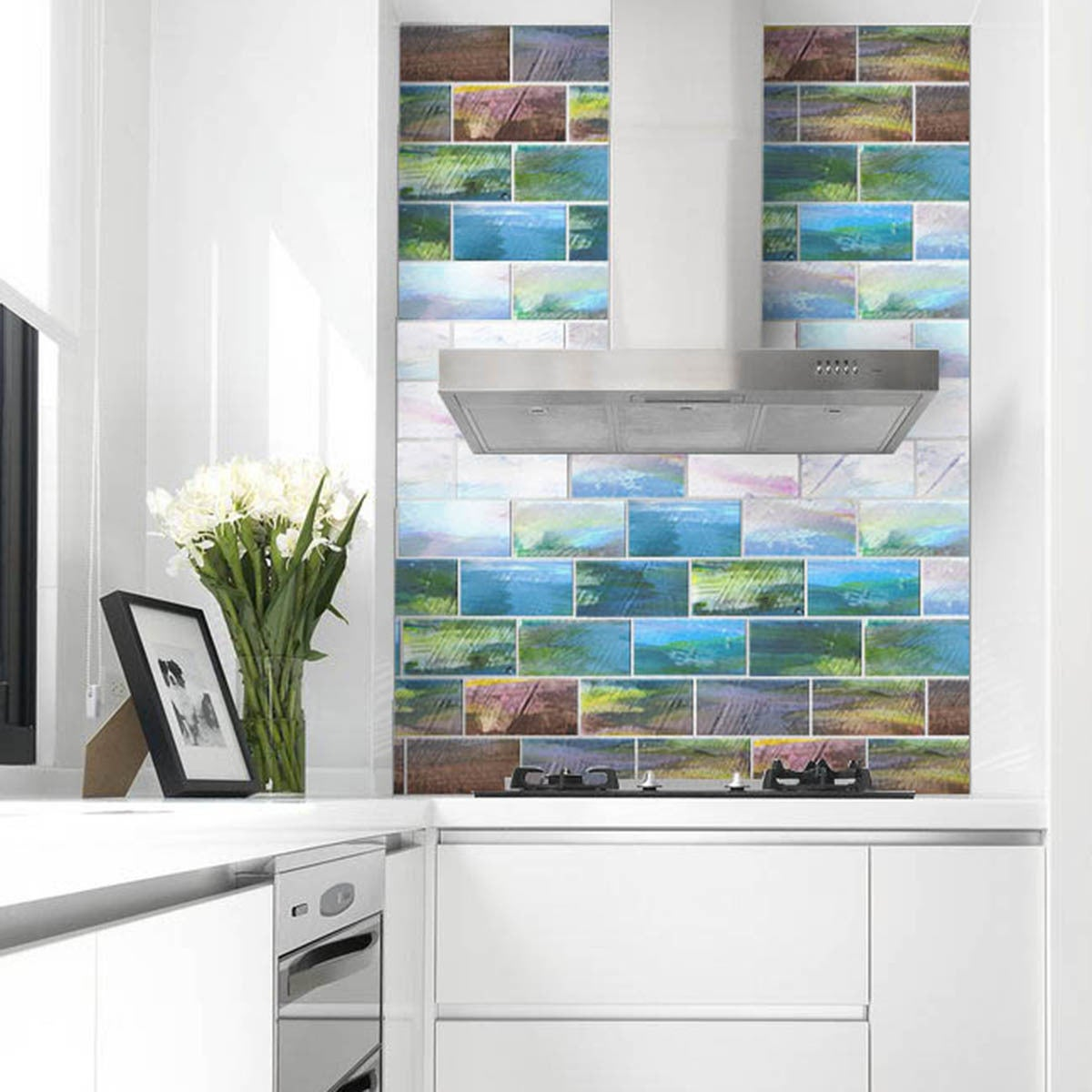 Shop Peel and Stick Van Gogh Watercolors 6 in. x 3 in. Glass Wall ...