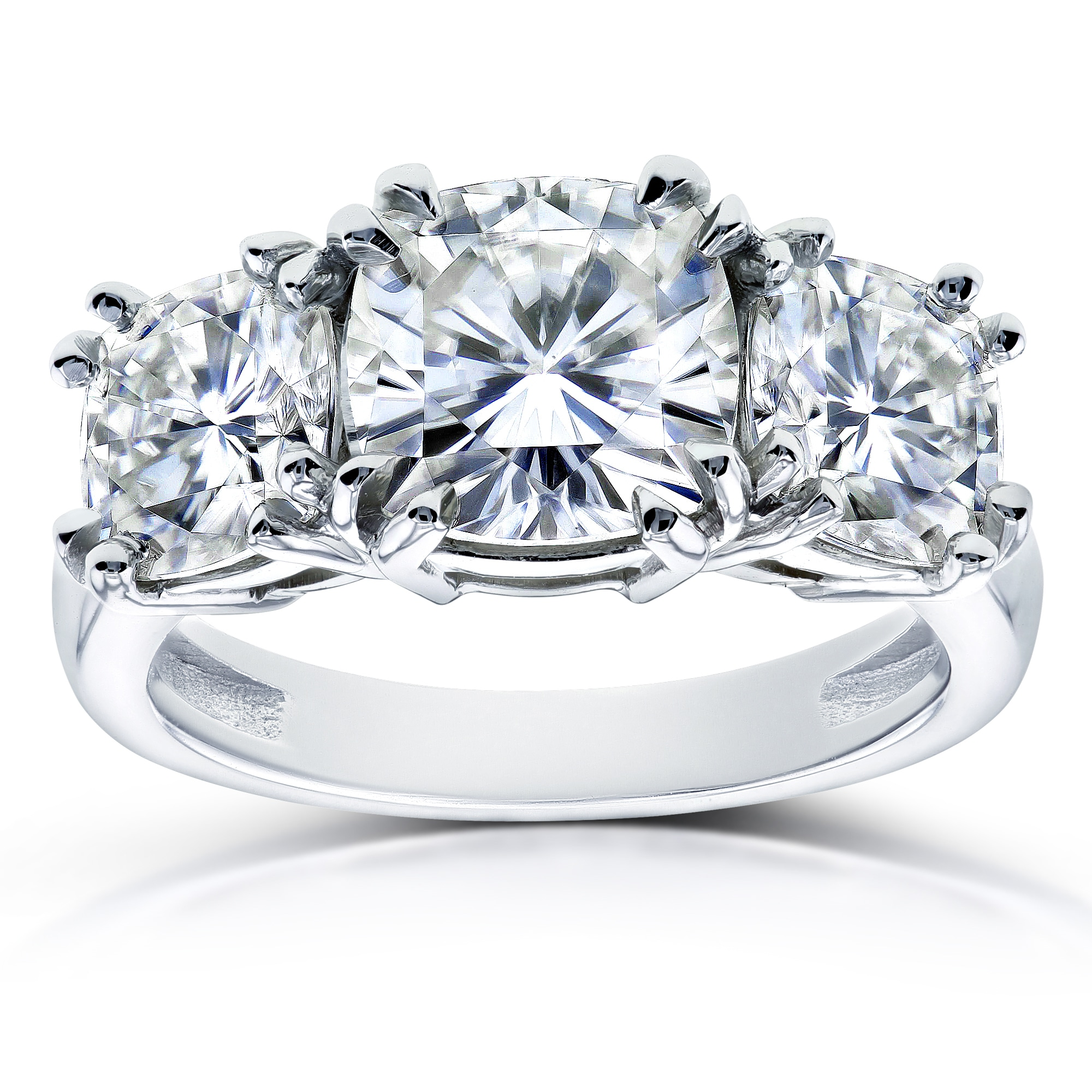 Annello By Kobelli 14k White Gold 4 1 5ct Tgw Moissanite Fg Cushion Cut 3 Stone Engagement Ring
