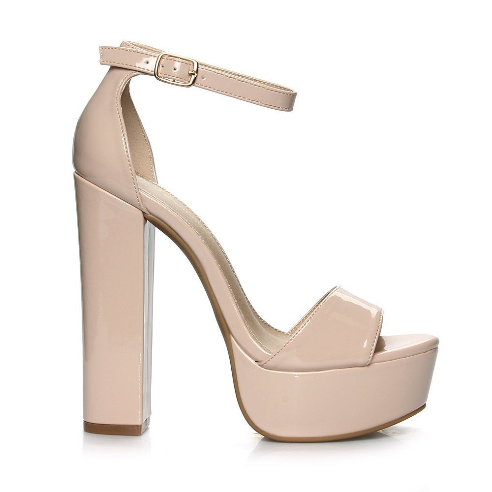 9556666d88e Shop Fahrenheit Kerry-01 Slim Ankle Strap Chunky Heel Women s High Heel  Sandals - Free Shipping Today - Overstock - 15999379