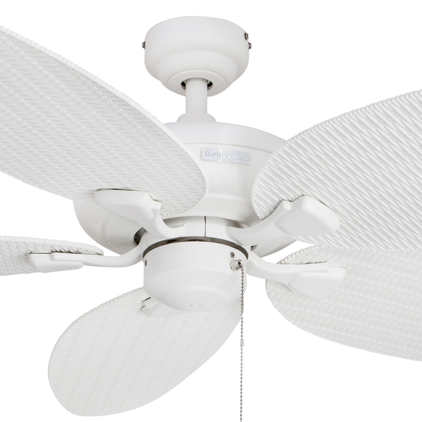"52"" Honeywell Duval White Indoor Outdoor Ceiling Fan with Wicker"