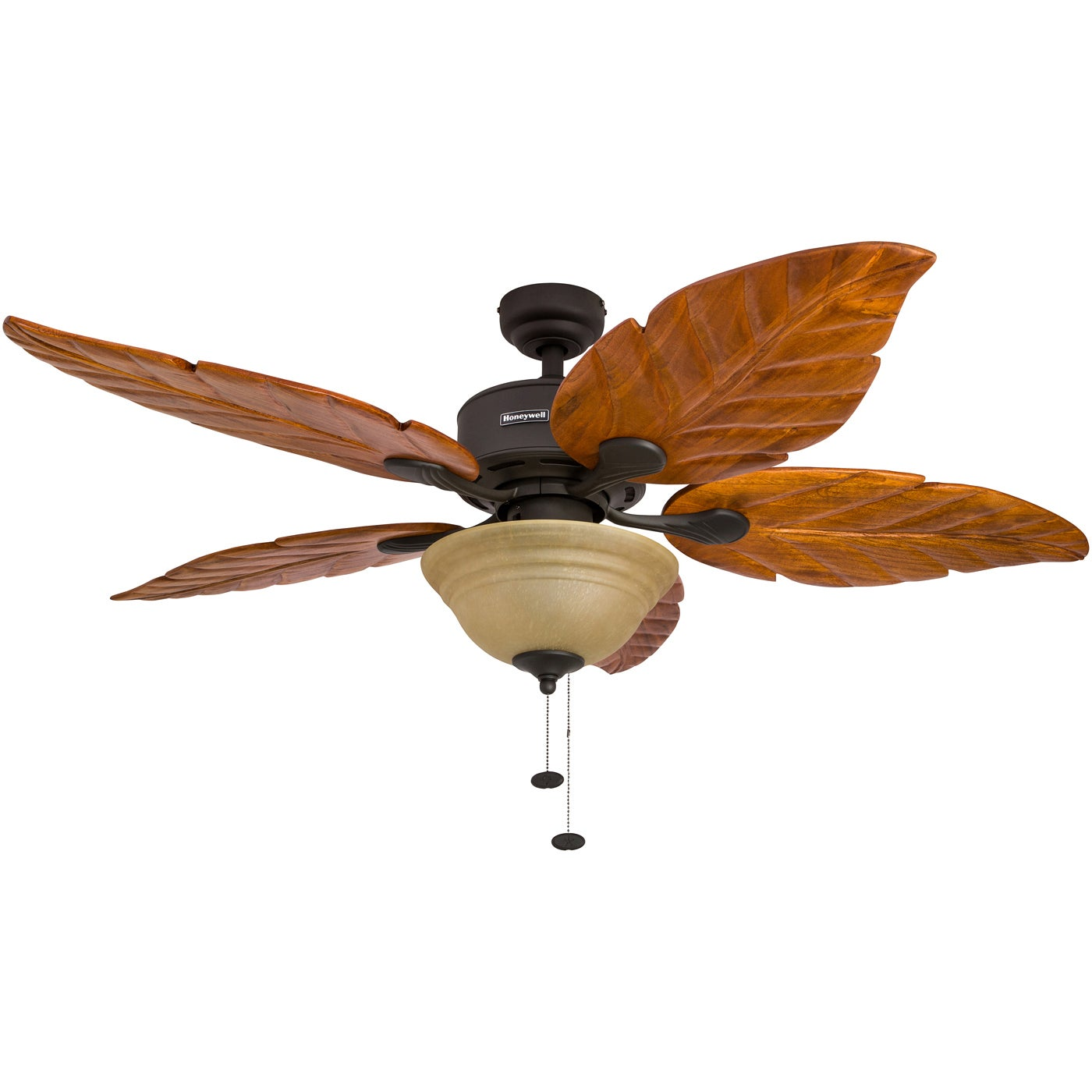 """52"""" Honeywell Sabal Palm Bronze Ceiling Fan with Bowl Light and"""