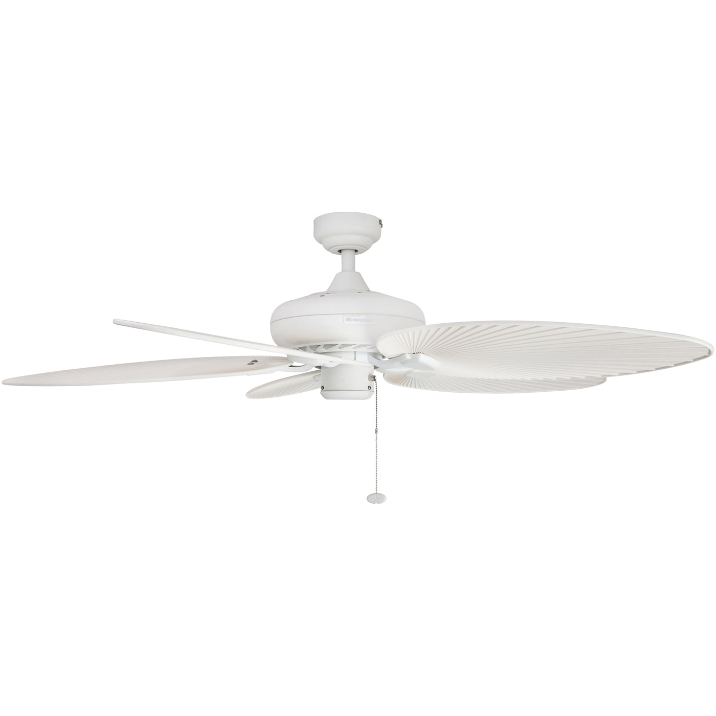 "52"" Honeywell Palm Island White Ceiling Fan with Palm Blades"