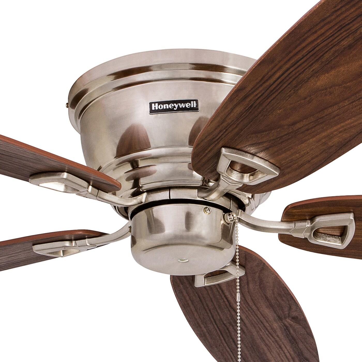 "52"" Honeywell Glen Alden Brushed Nickel Hugger Ceiling Fan with 4"