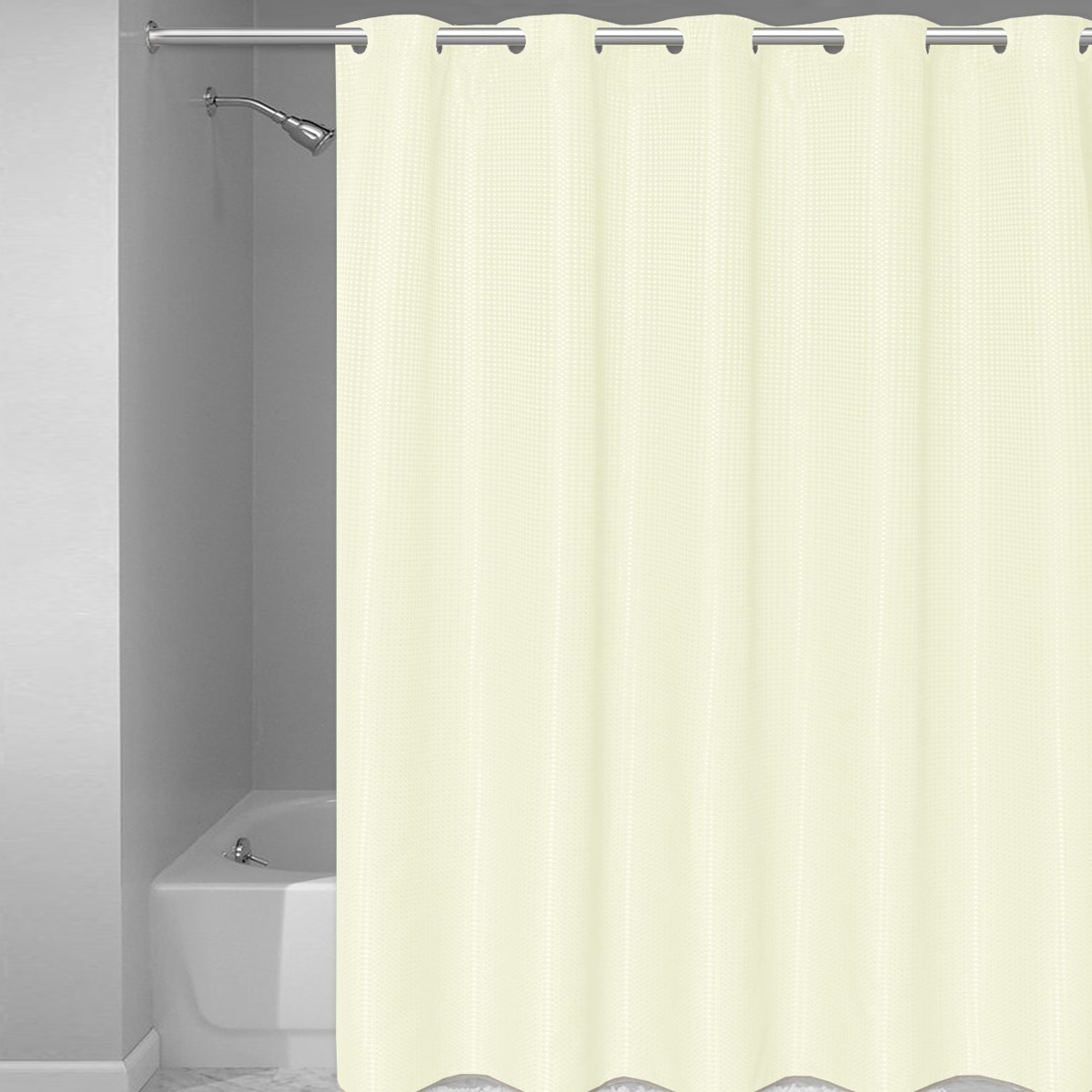 curtain the add space cream features a polyester sold product to hooks across colored your subtle liner weave curtains this style stillman fabric and shower bathroom waffle