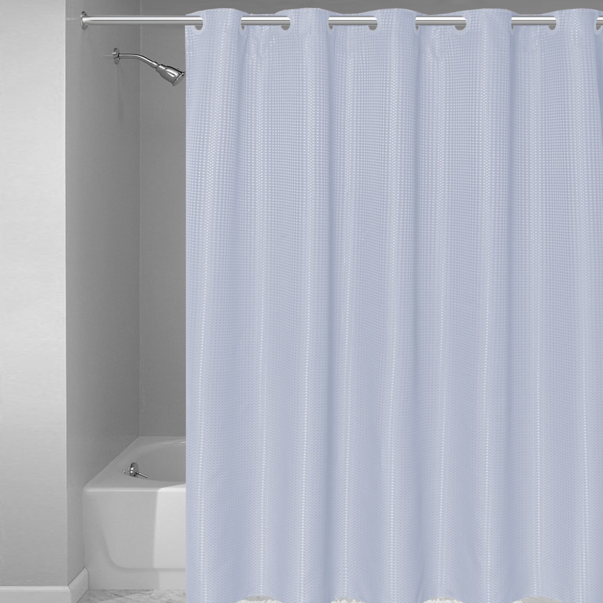 EZ-ON Waffle Weave Fabric Shower Curtain with Snap Off Liner Assorted Colors (70\