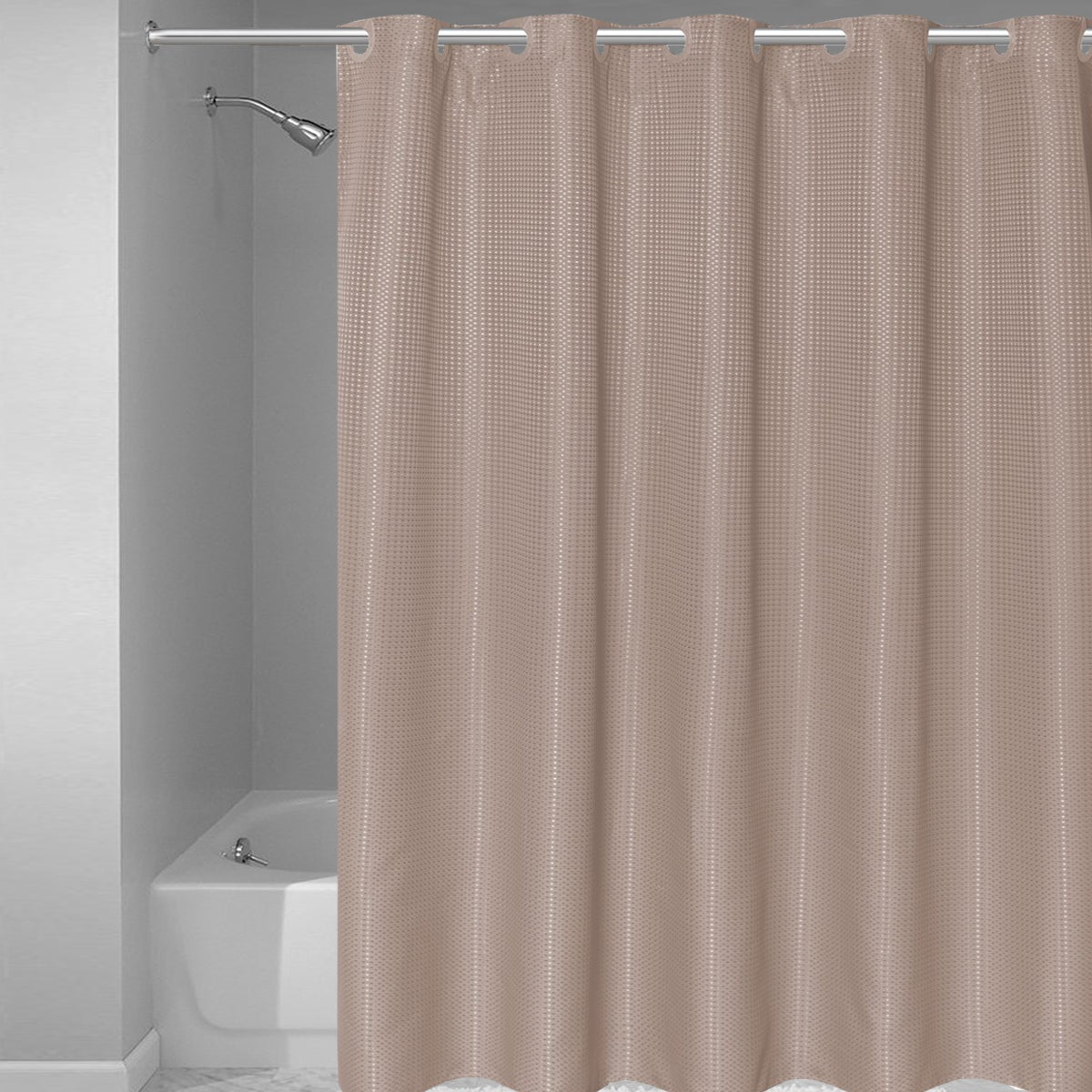 Shop EZ ON Waffle Weave Fabric Shower Curtain With Snap Off Liner Assorted Colors 70x75