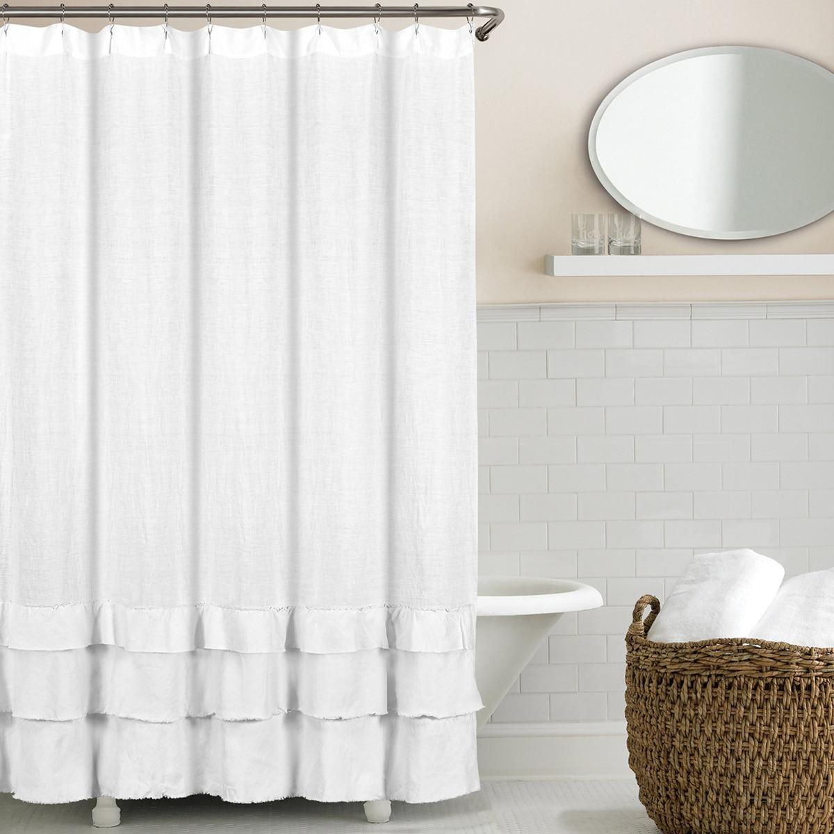 Shop Ruffled Washed Belgian Linen Shower Curtain