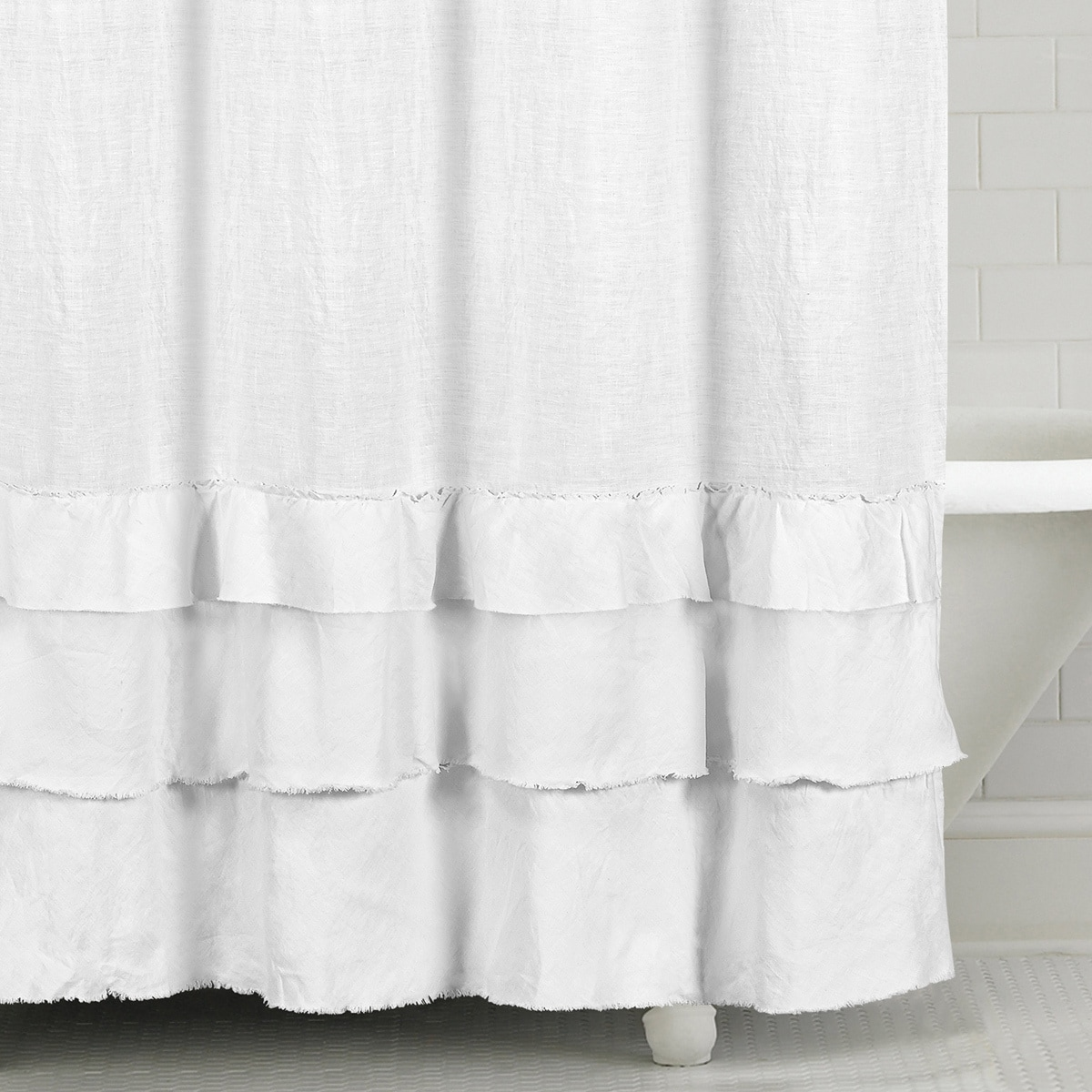 Shop Ruffled Washed Belgian Linen Shower Curtain