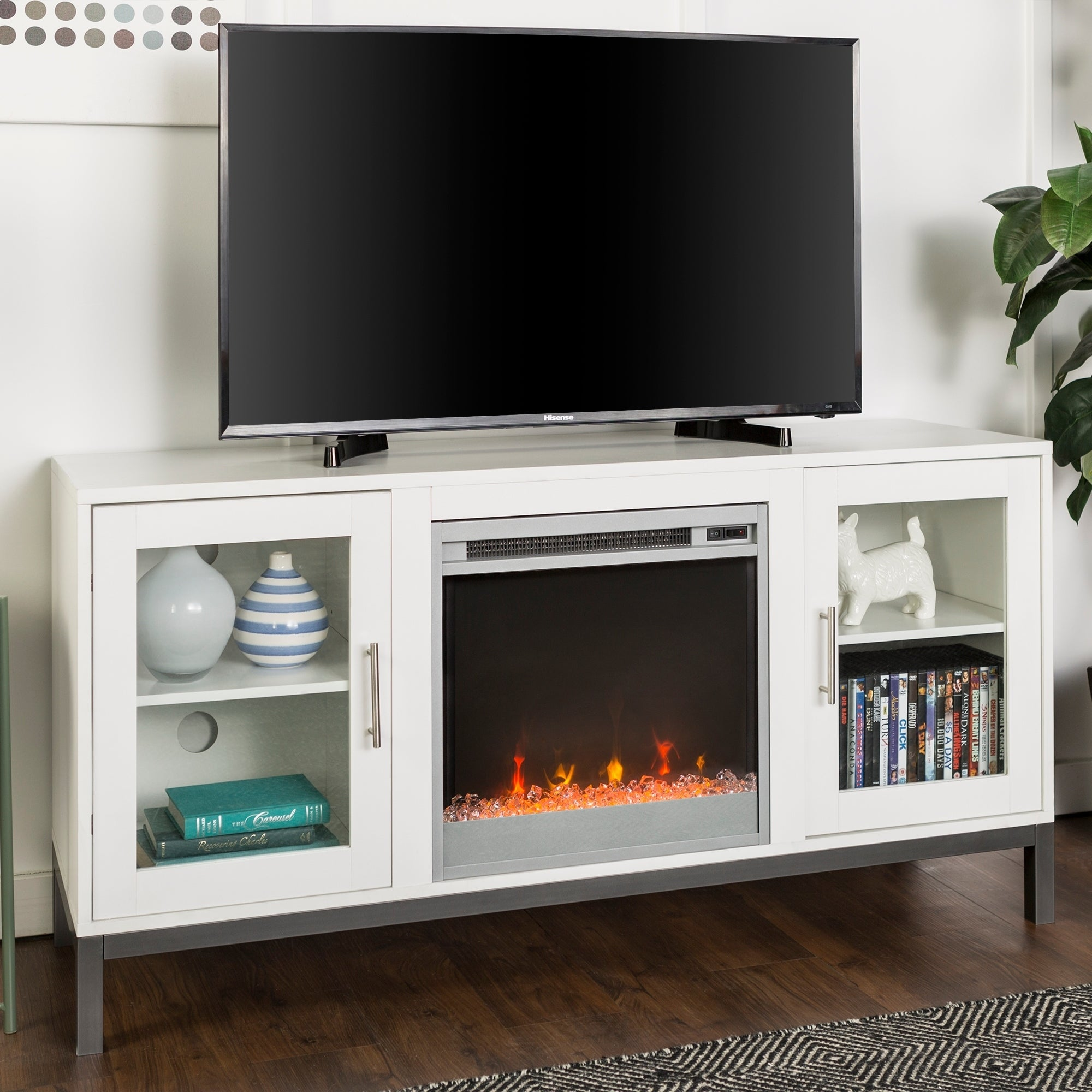 Shop 52 Fireplace Tv Stand Console With Metal Base 52 X 16 X 26h
