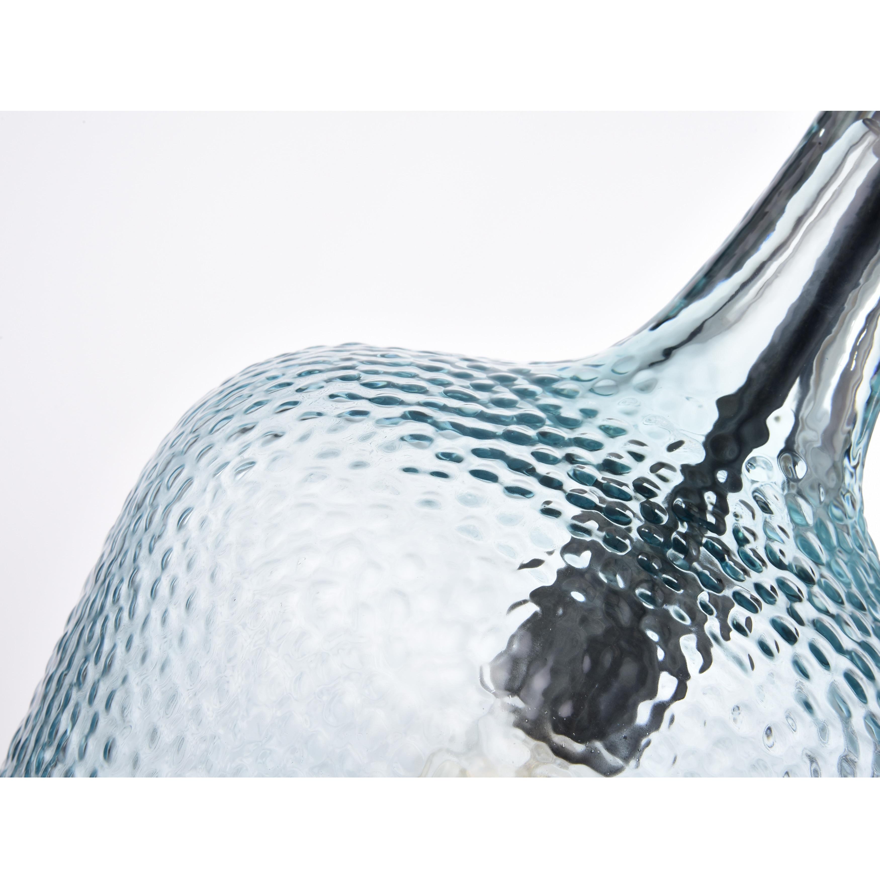Belinda Mouth blown Blue Glass Pendant Chandelier in Antique Black