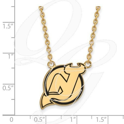 4205661ff Shop Versil Sterling Silver with Gold Plating NHL LogoArt New Jersey Devils  Large Enamel Pendant with Necklace - Free Shipping Today - Overstock.com -  ...