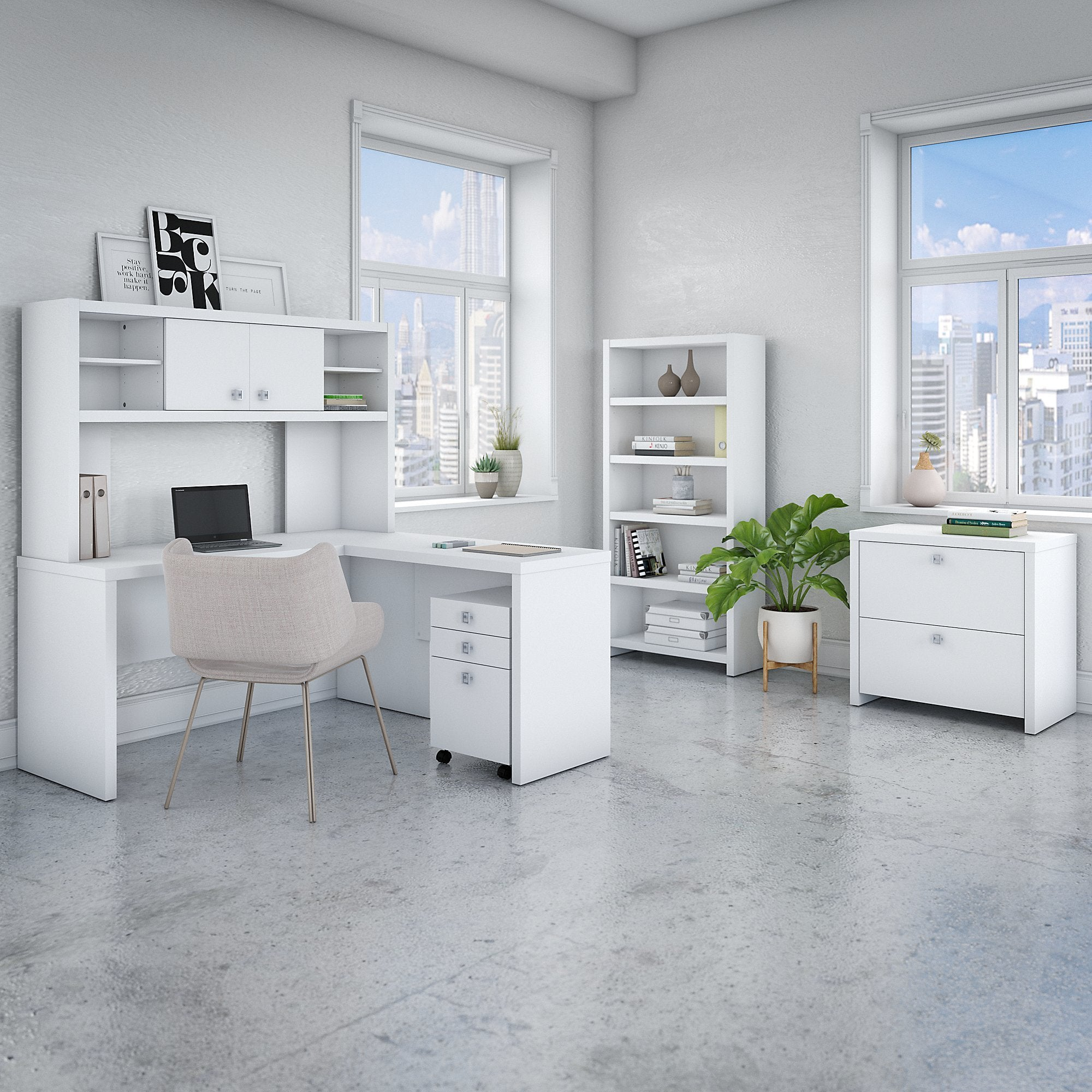 Office by kathy ireland echo l shaped desk with hutch bookcase and file cabinets in pure white