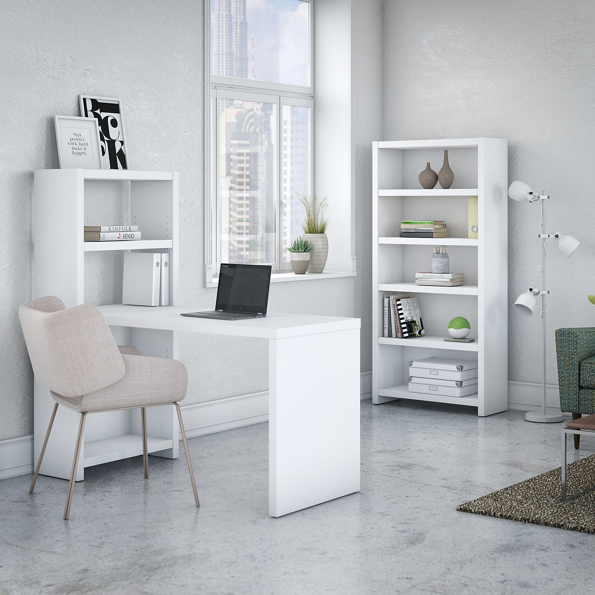 Shop Office by kathy ireland Echo Bookcase Desk with Storage - Free ...