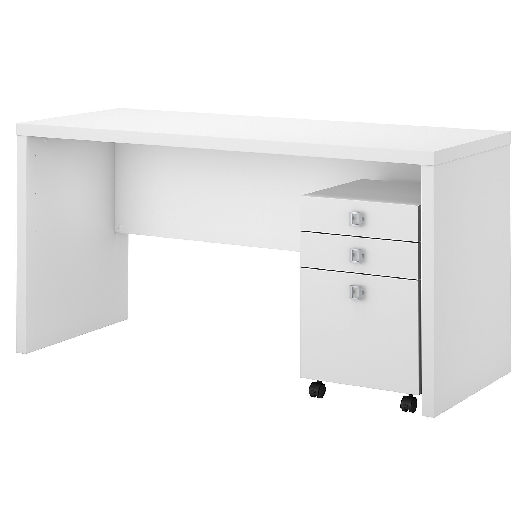 Shop Office By Kathy Ireland® Echo Credenza Desk With Mobile File Cabinet  In Pure White   On Sale   Free Shipping Today   Overstock.com   16003552