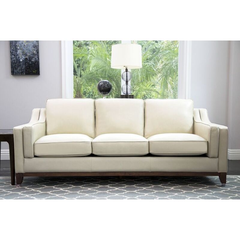 Shop Abbyson Allegra Cream Top Grain Leather Sofa   On Sale   Free Shipping  Today   Overstock.com   16005088