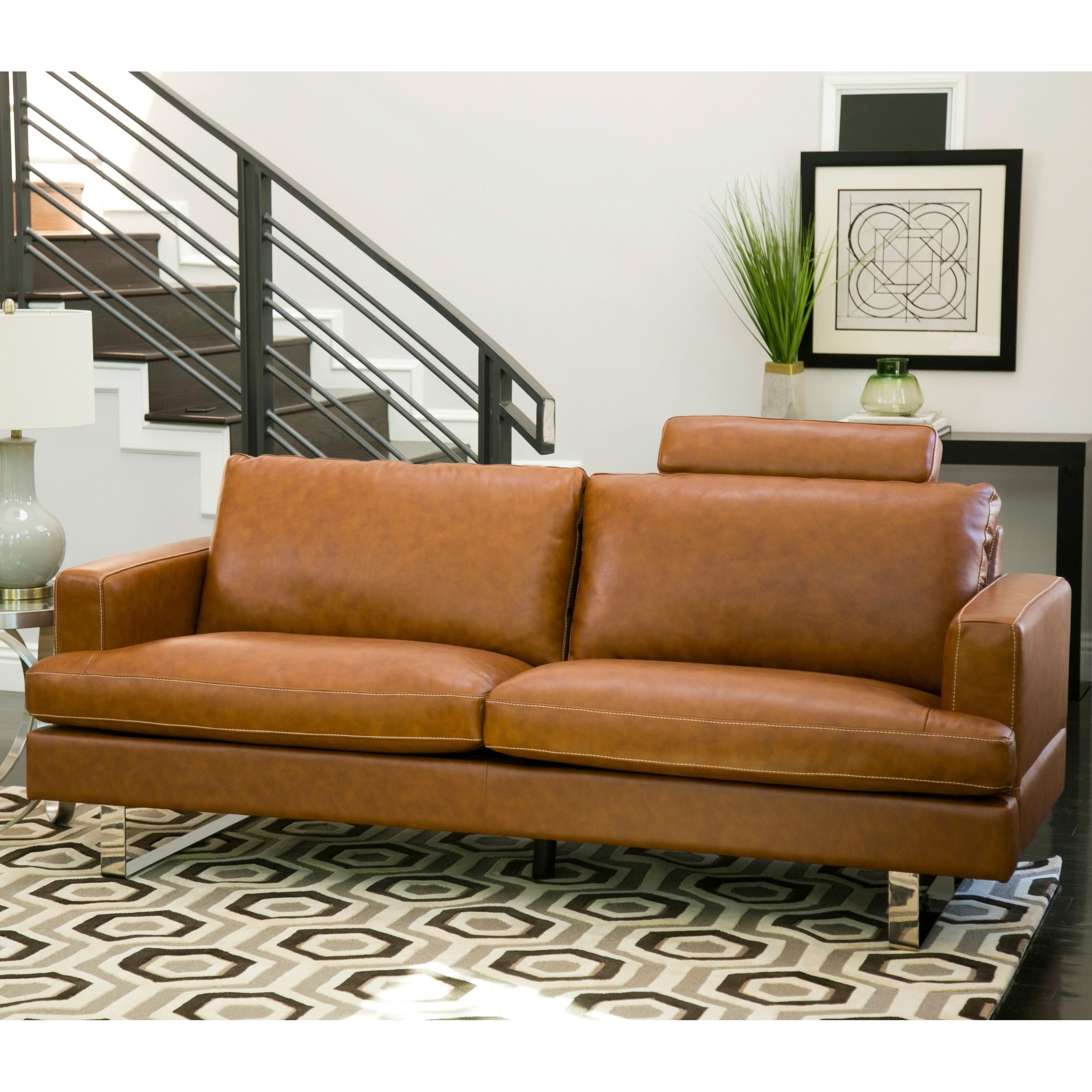 Shop Abbyson Edison Mid Century Camel Leather Sofa   On Sale   Free  Shipping Today   Overstock.com   16005095