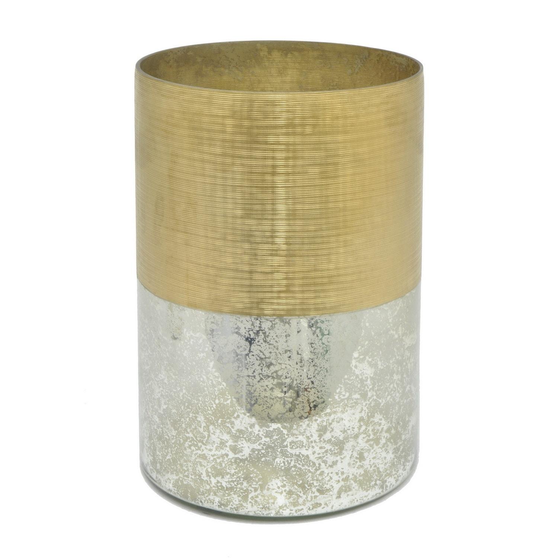 Three Hands Gold Mercury Glass Hurricane - Free Shipping Today ...
