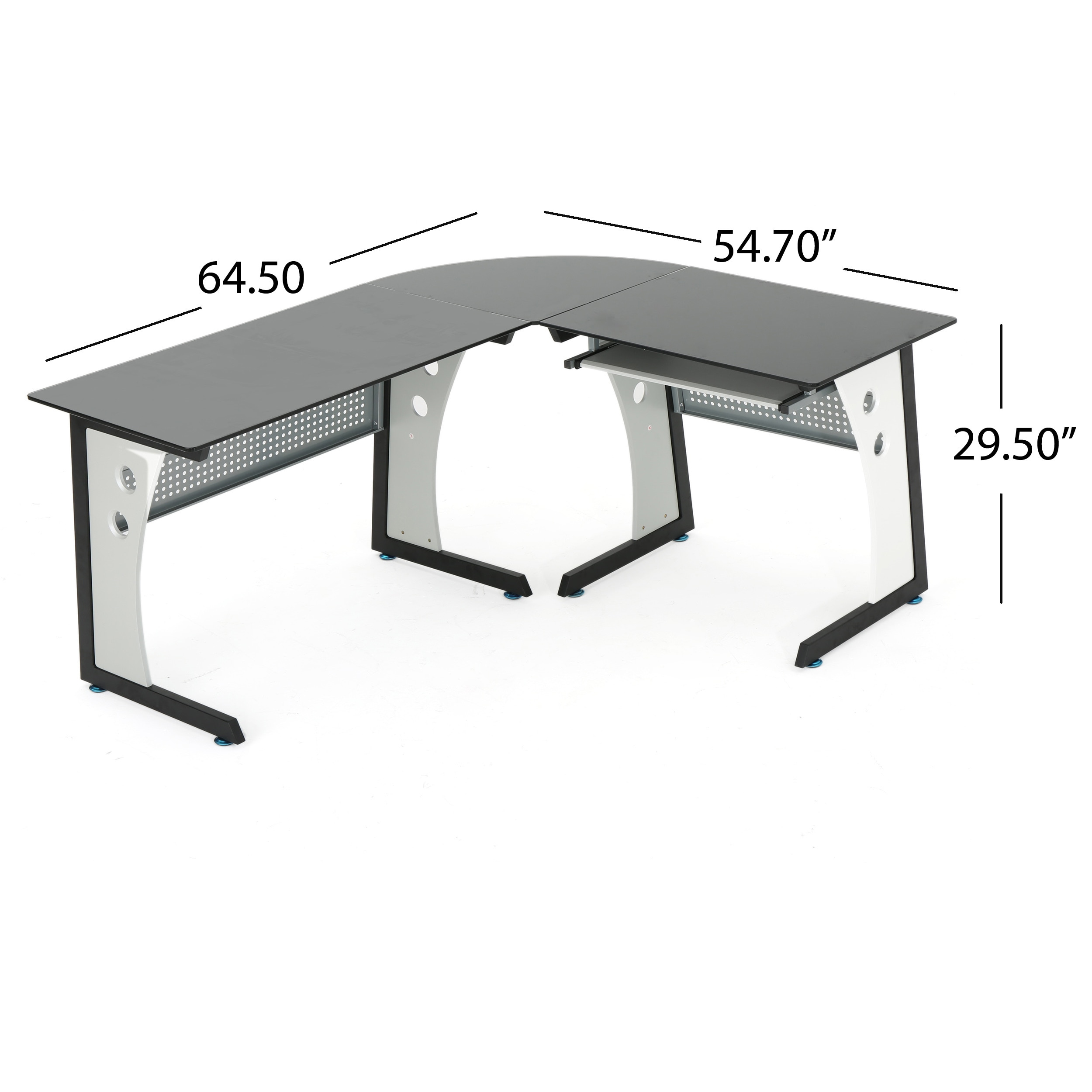 tempered glass office desk. Shop Oria L-Shape Tempered Glass Office Desk By Christopher Knight Home - Free Shipping Today Overstock.com 16032059 T