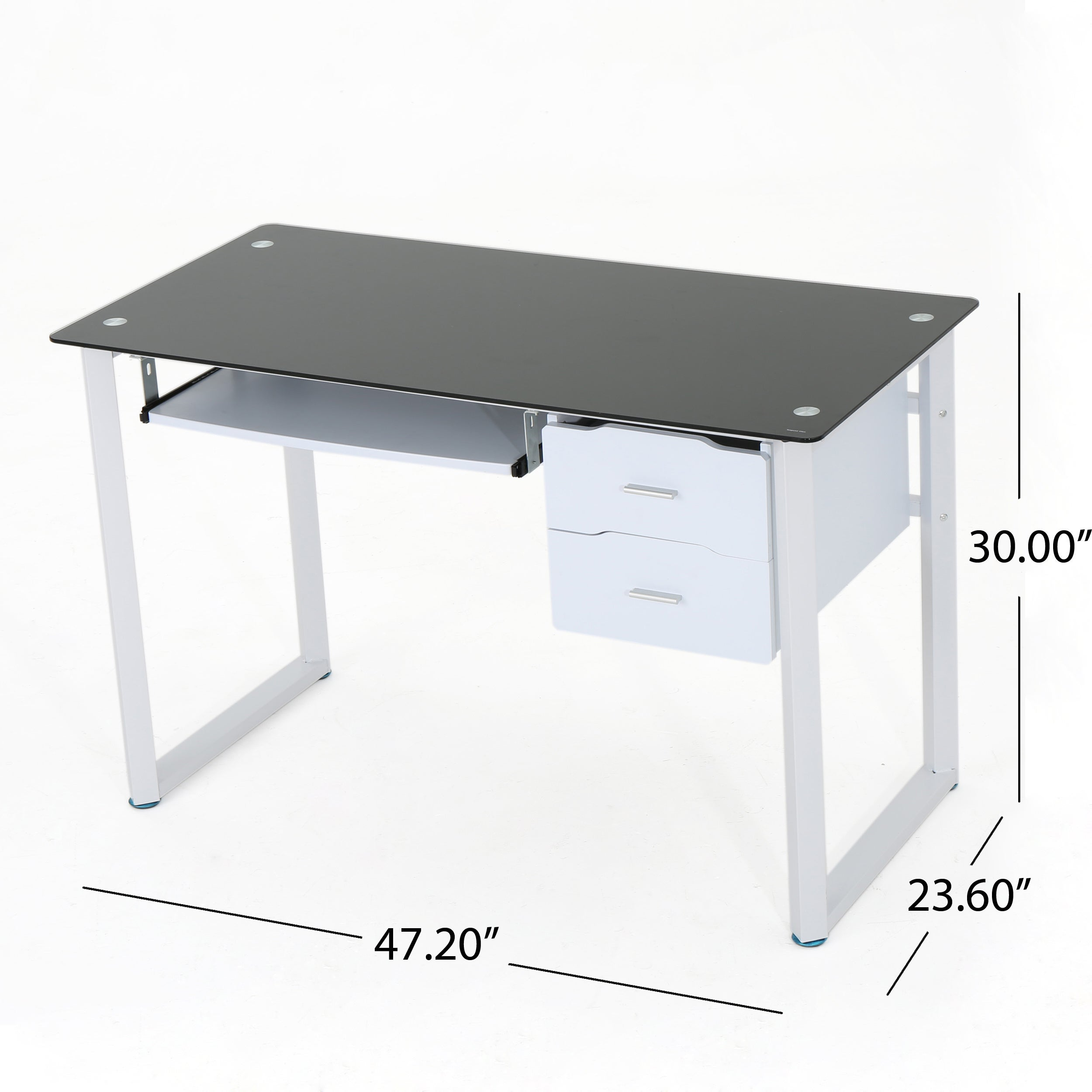 Shop reeve tempered glass computer desk with storage drawers by christopher knight home free shipping today overstock com 16032113