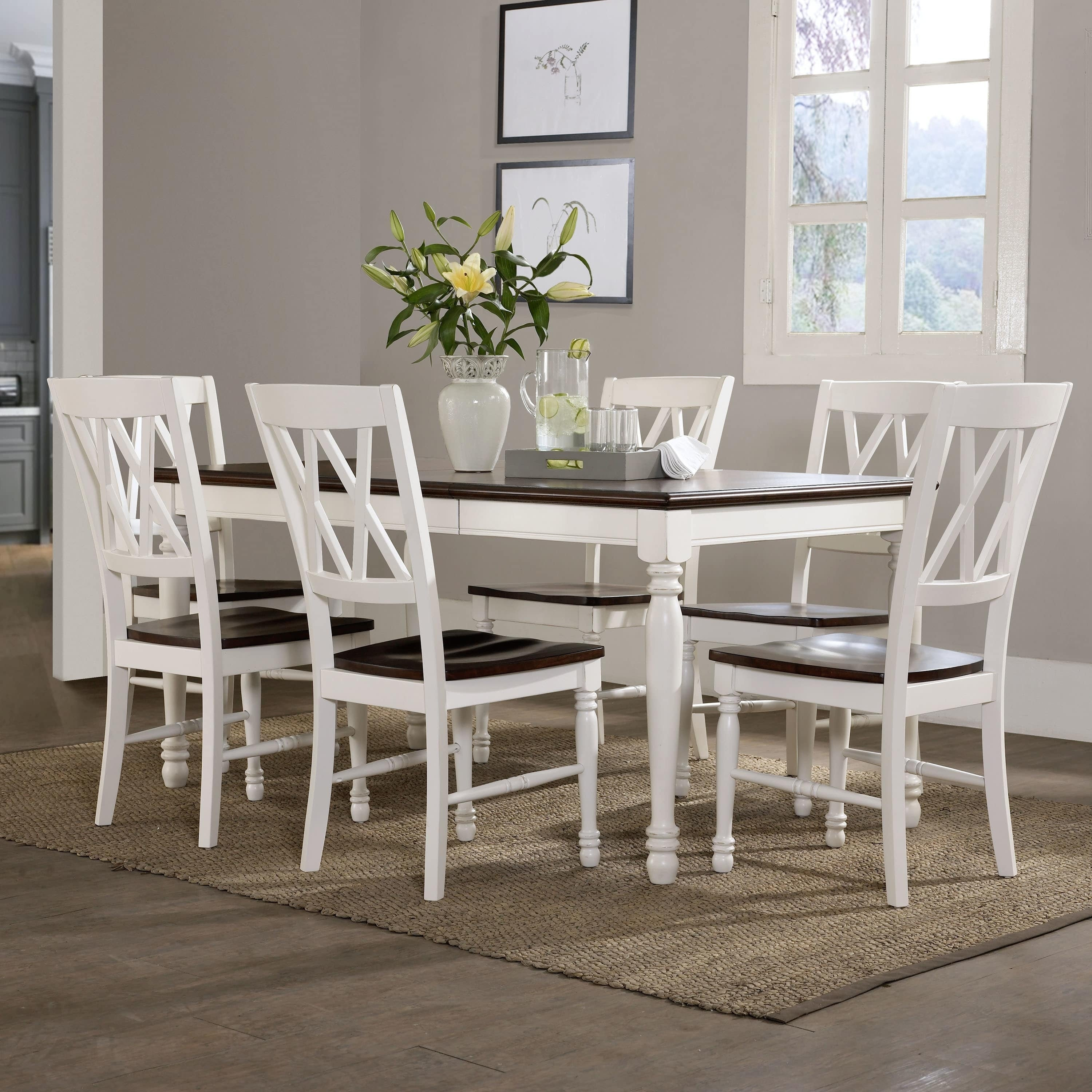 7 piece dining set with bench chair shop shelby 7piece dining set white free shipping today overstockcom 16047284