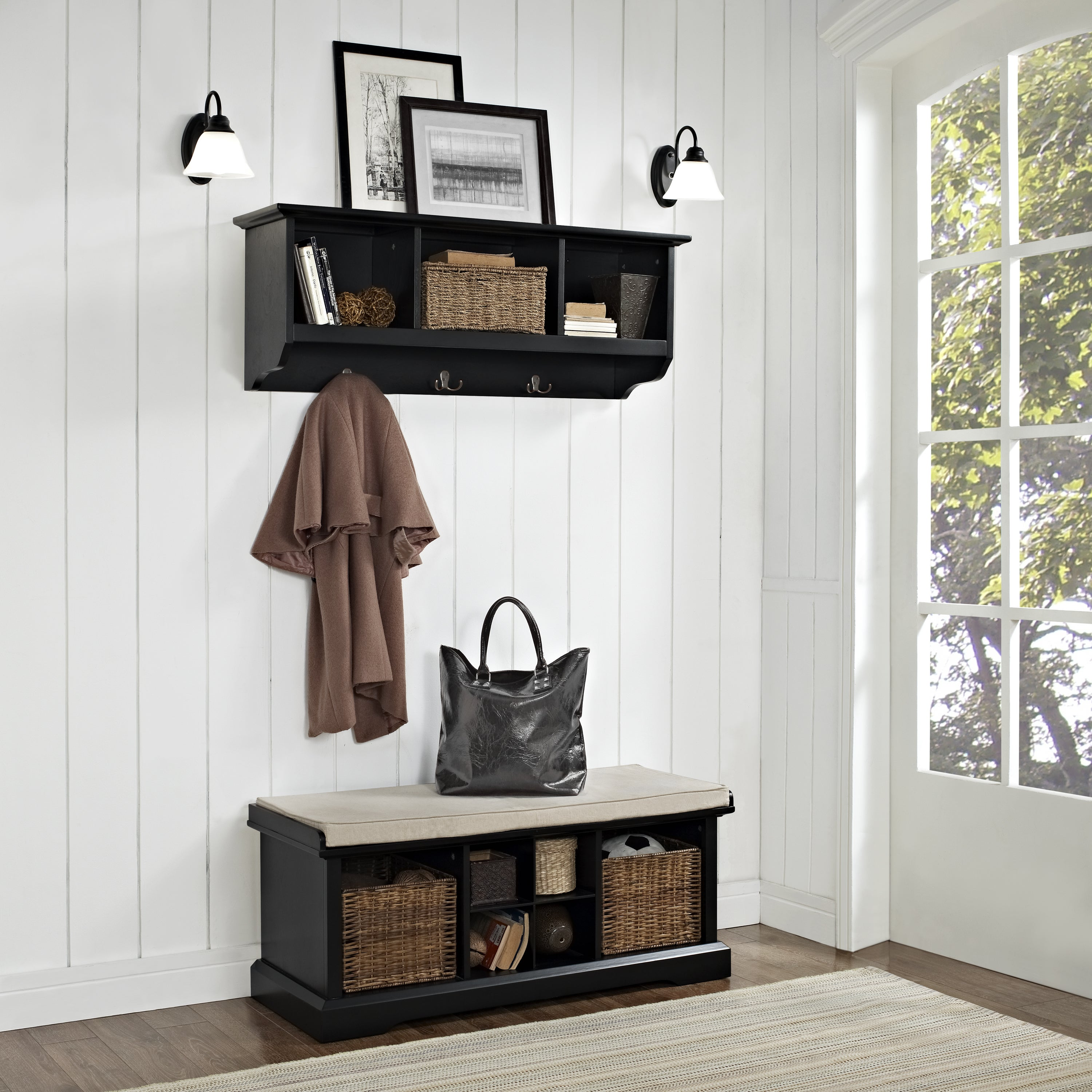 Shop brennan 2 piece entryway bench and shelf set in black free shipping today overstock com 16047297