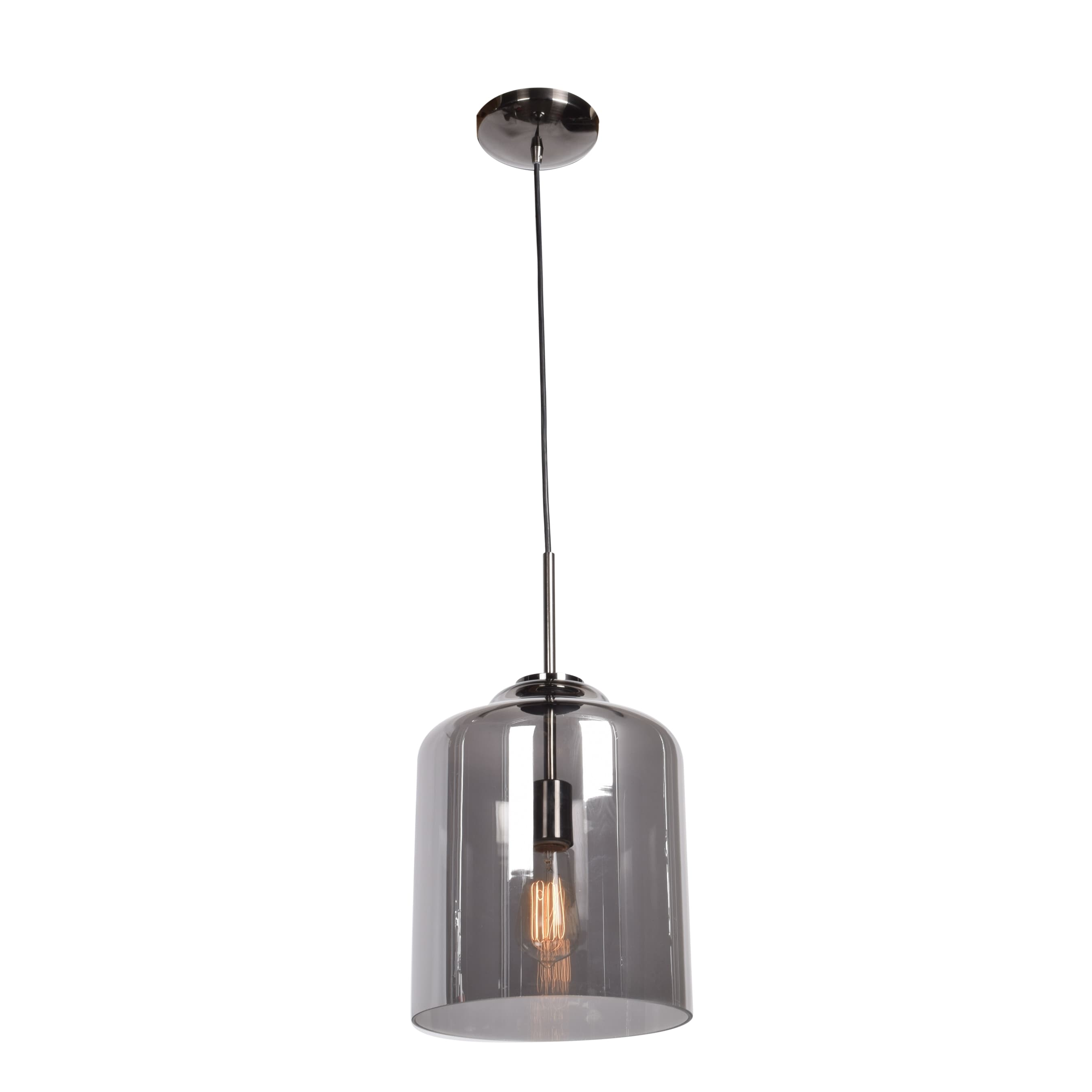 Access Lighting Simplicite Black Chrome Cylinder Pendant With Smoke Mirror Gl Shade Free Shipping Today 16048782