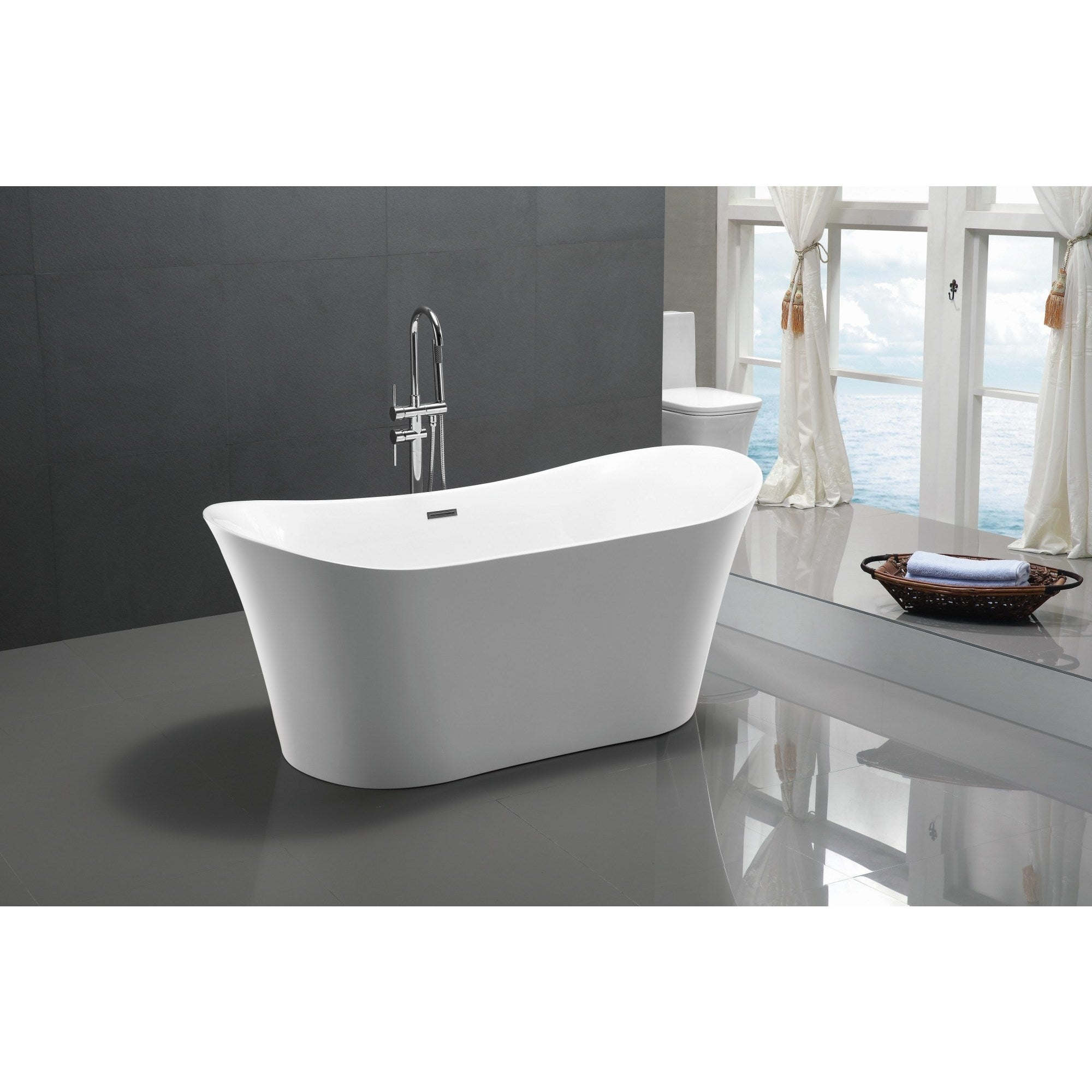 Ordinaire Freestanding Bathtub In White   Free Shipping Today   Overstock.com    16049239