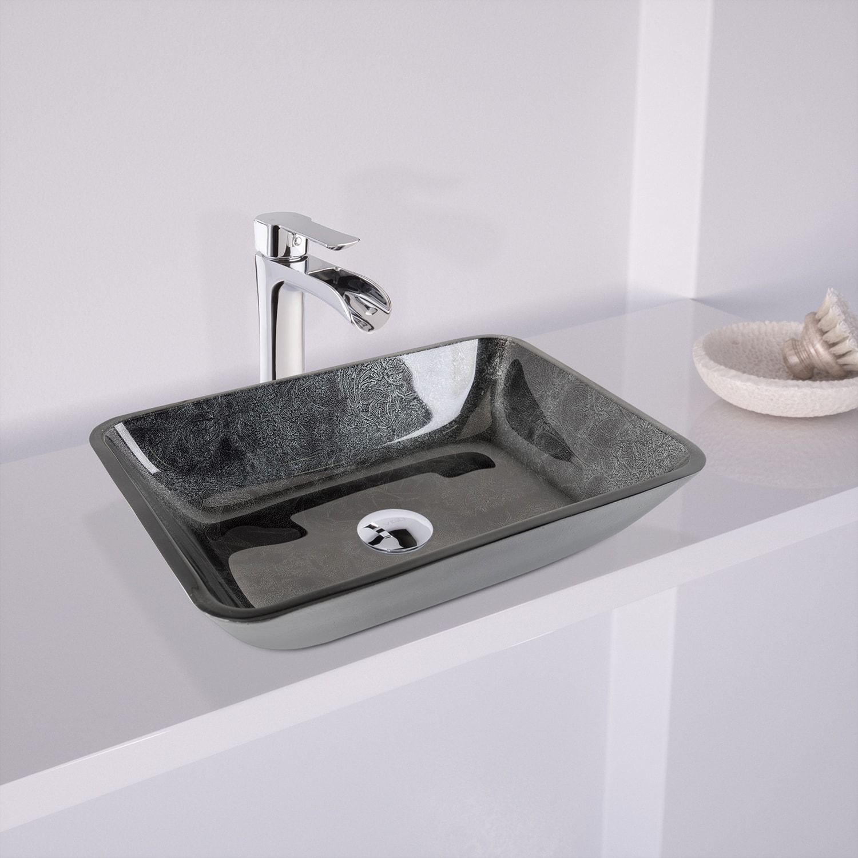 Shop VIGO Rectangular Gray Onyx Glass Vessel Bathroom Sink - Free ...