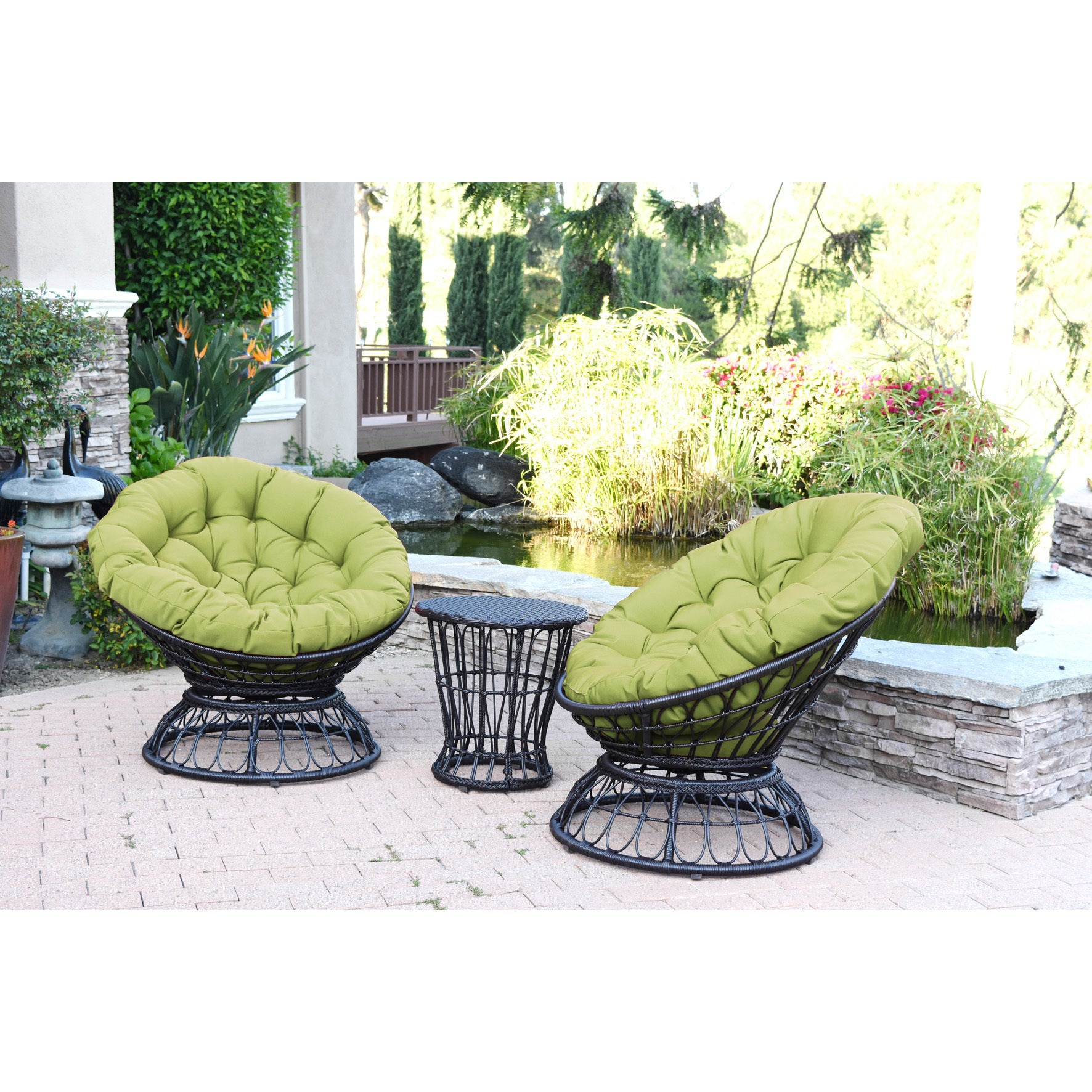Jeco Papasan Espresso Wicker Swivel Chair And Table Set With