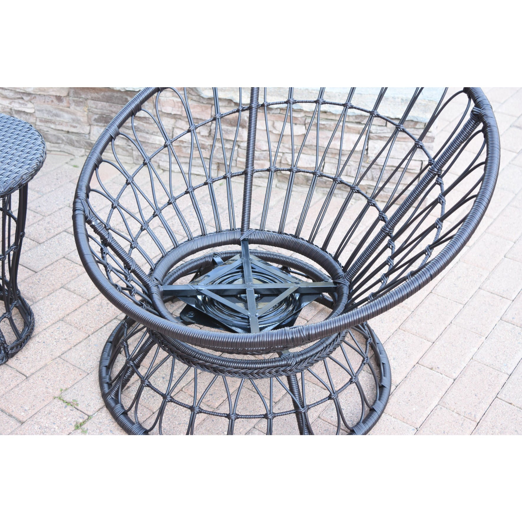 shop jeco papasan espresso wicker swivel chair and table set with